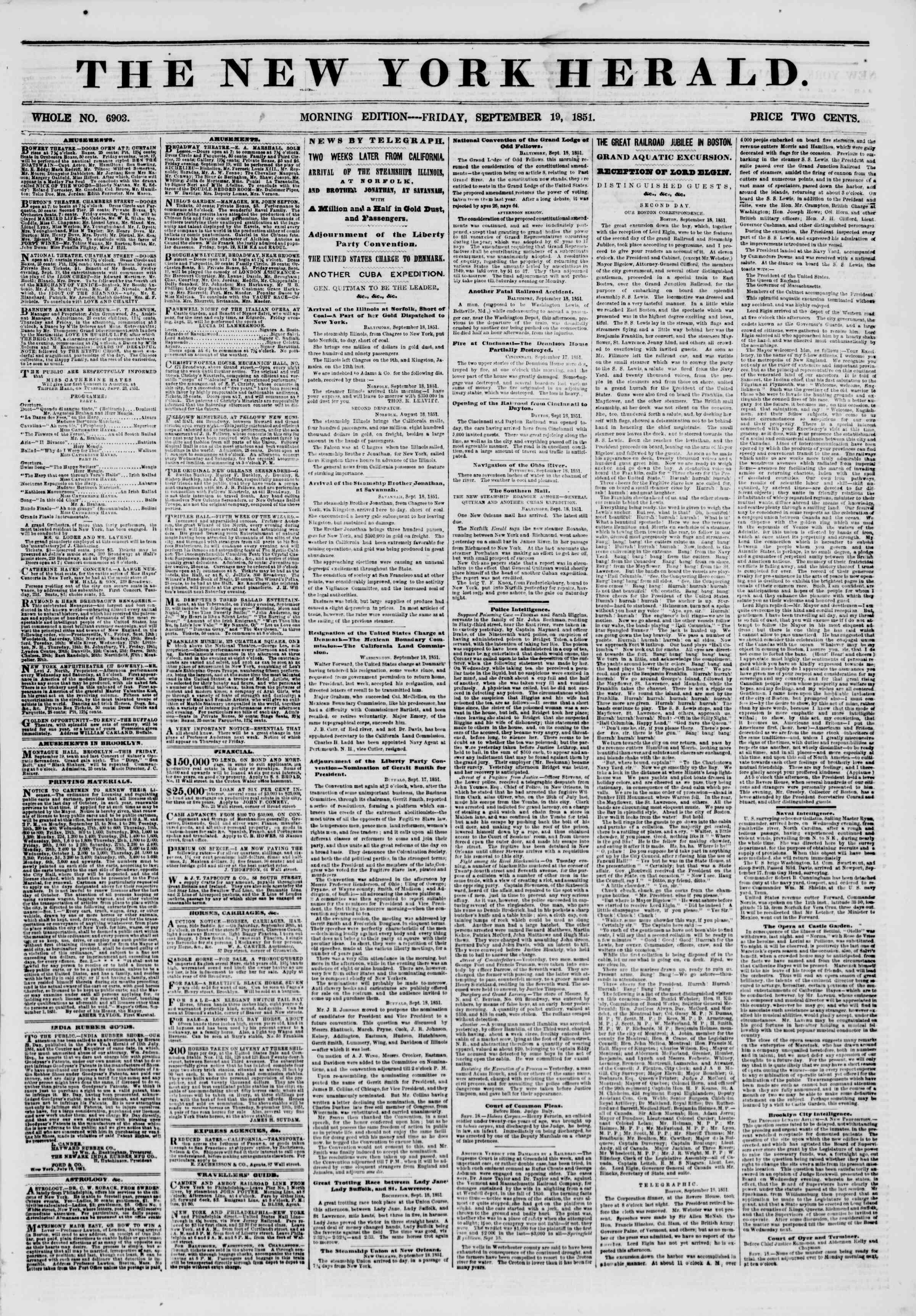 19 Eylül 1851 tarihli The New York Herald Gazetesi Sayfa 1