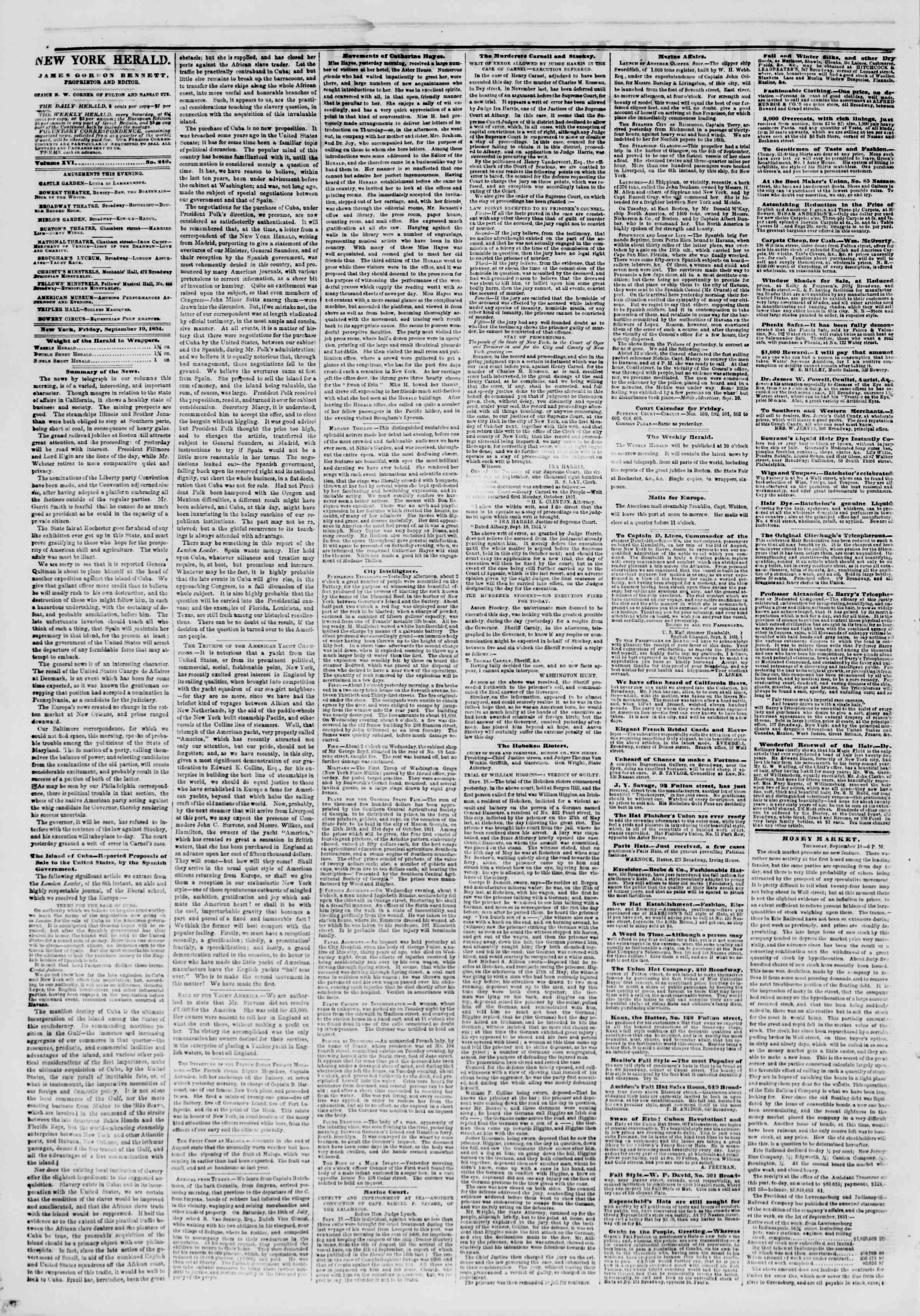 Newspaper of The New York Herald dated September 19, 1851 Page 2