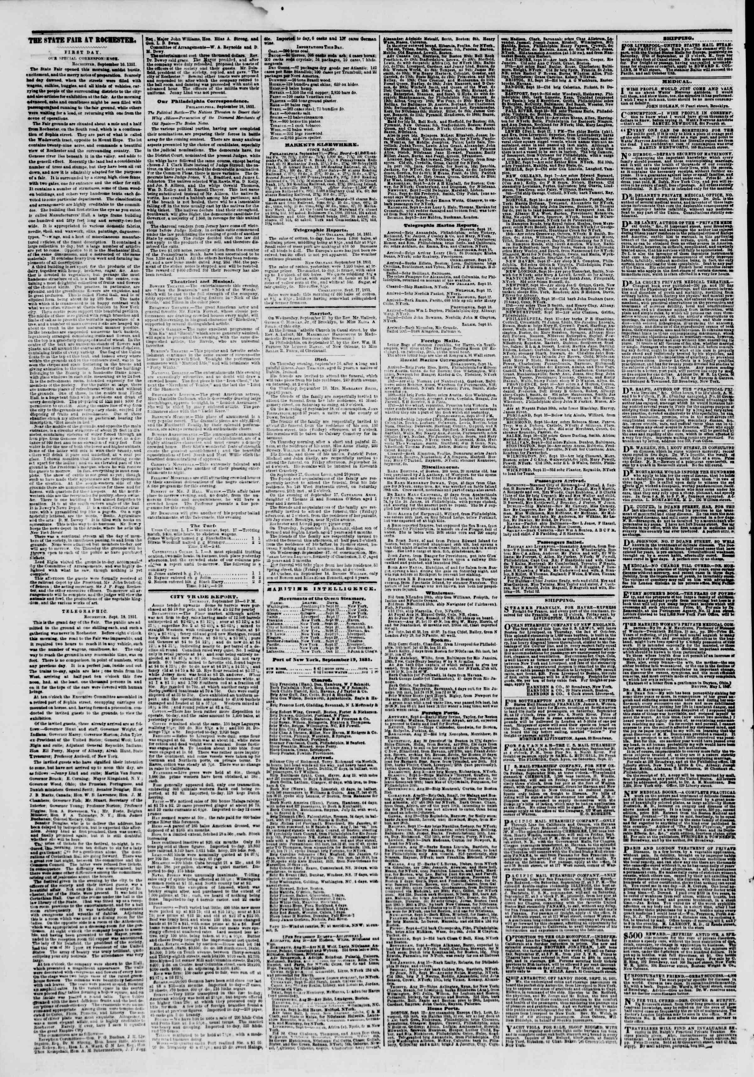 Newspaper of The New York Herald dated September 19, 1851 Page 4