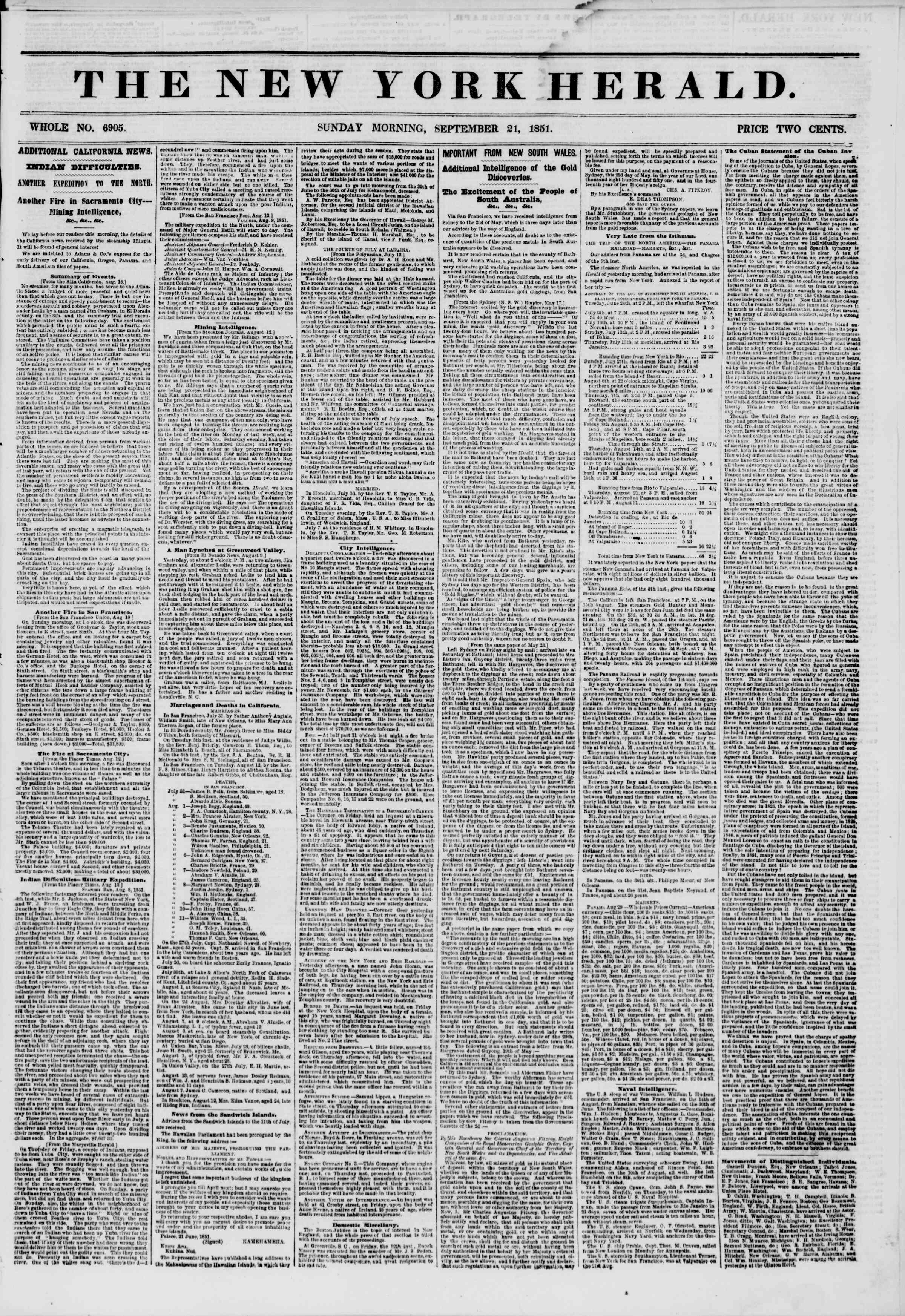 Newspaper of The New York Herald dated September 21, 1851 Page 1