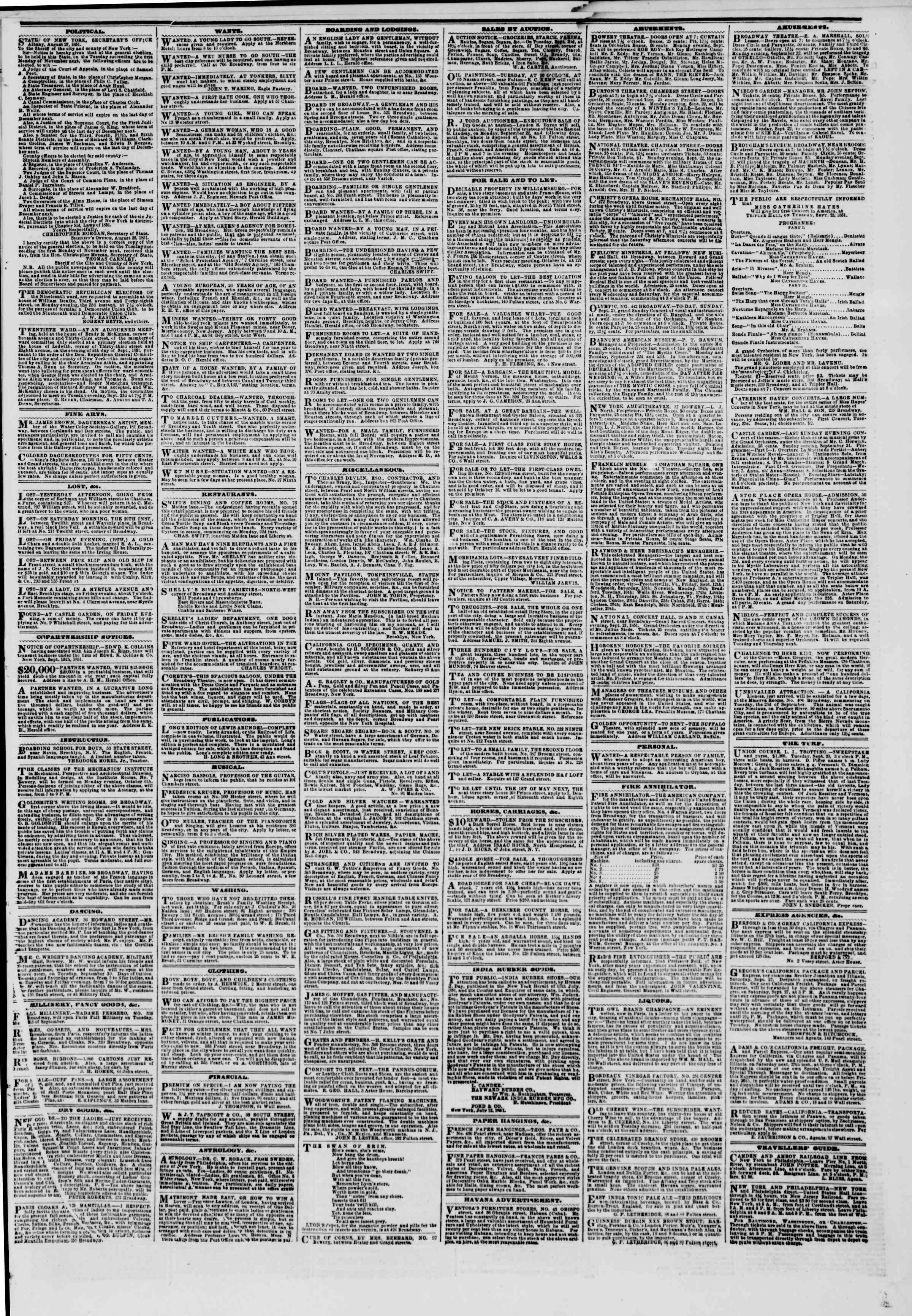 Newspaper of The New York Herald dated September 21, 1851 Page 3