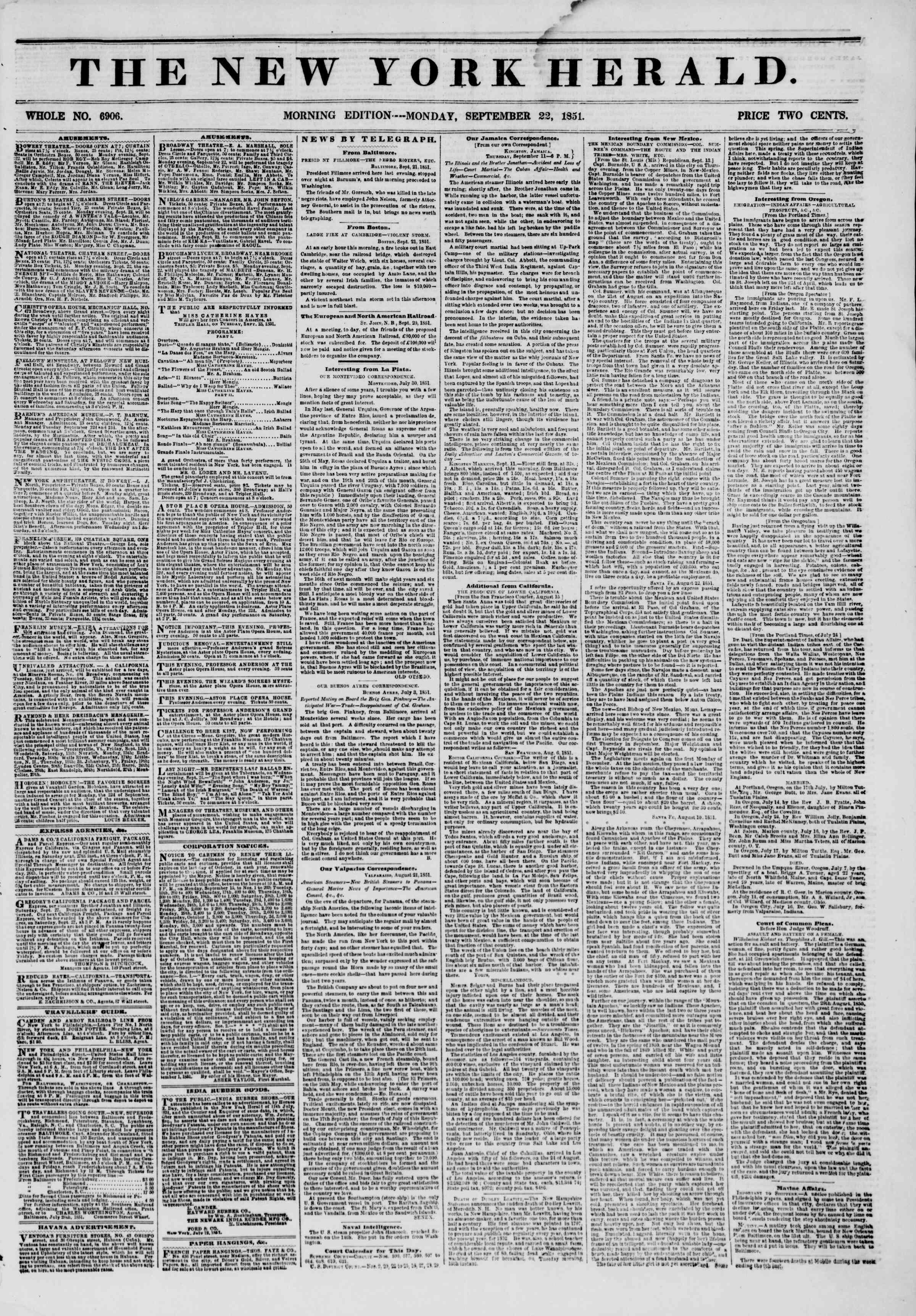 Newspaper of The New York Herald dated September 22, 1851 Page 1