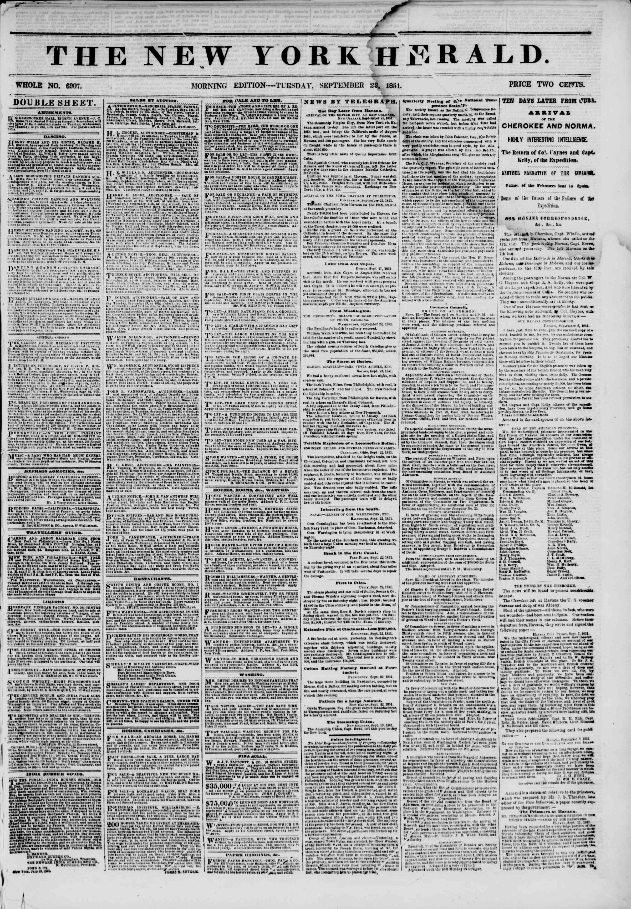 Newspaper of The New York Herald dated September 23, 1851 Page 1