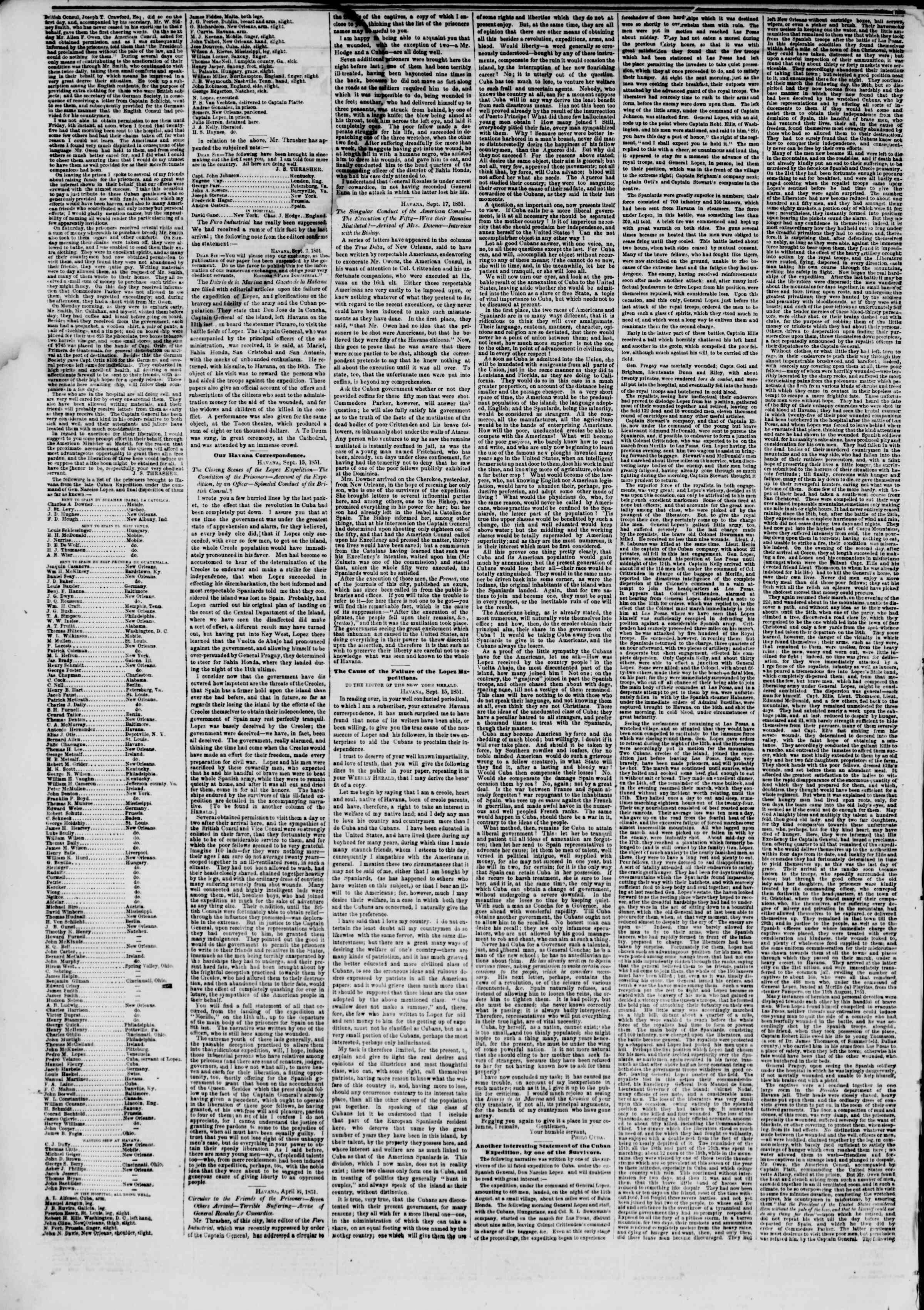Newspaper of The New York Herald dated September 23, 1851 Page 2