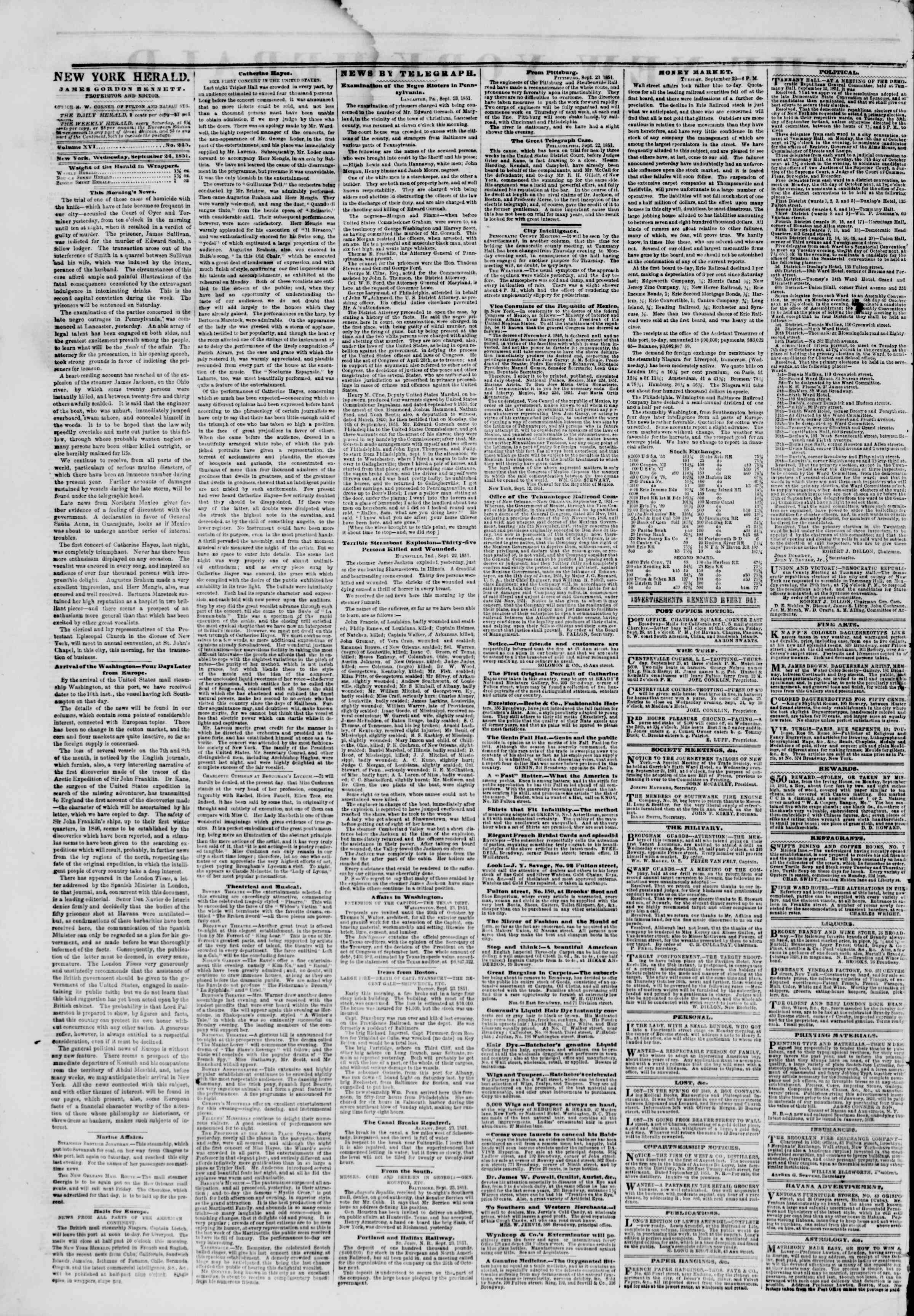 Newspaper of The New York Herald dated September 24, 1851 Page 2