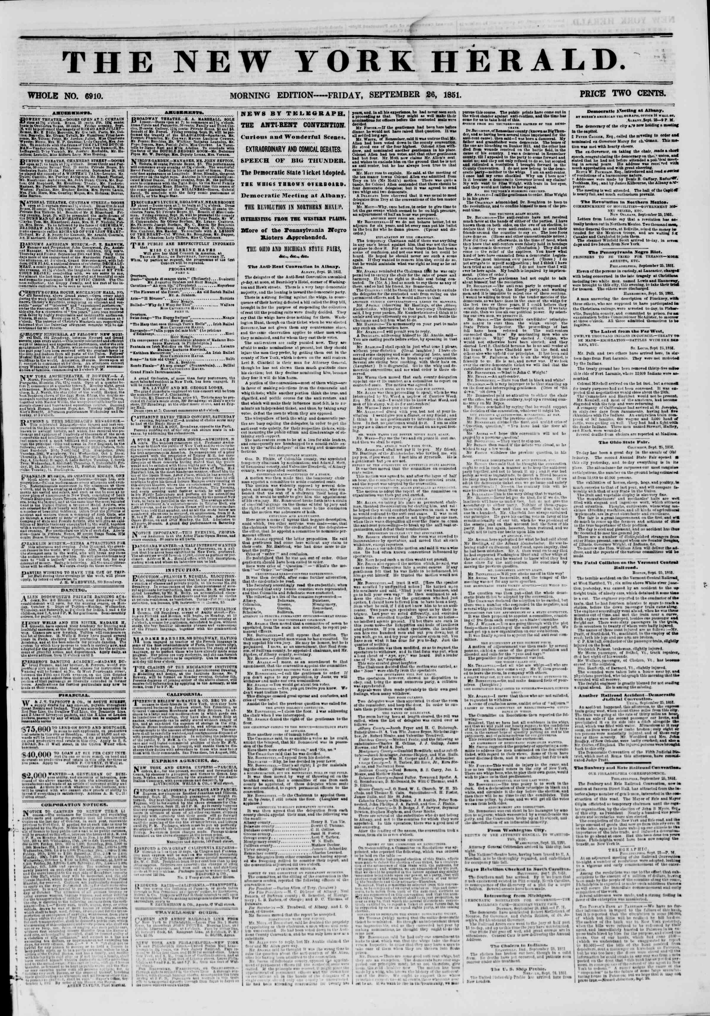 Newspaper of The New York Herald dated September 26, 1851 Page 1