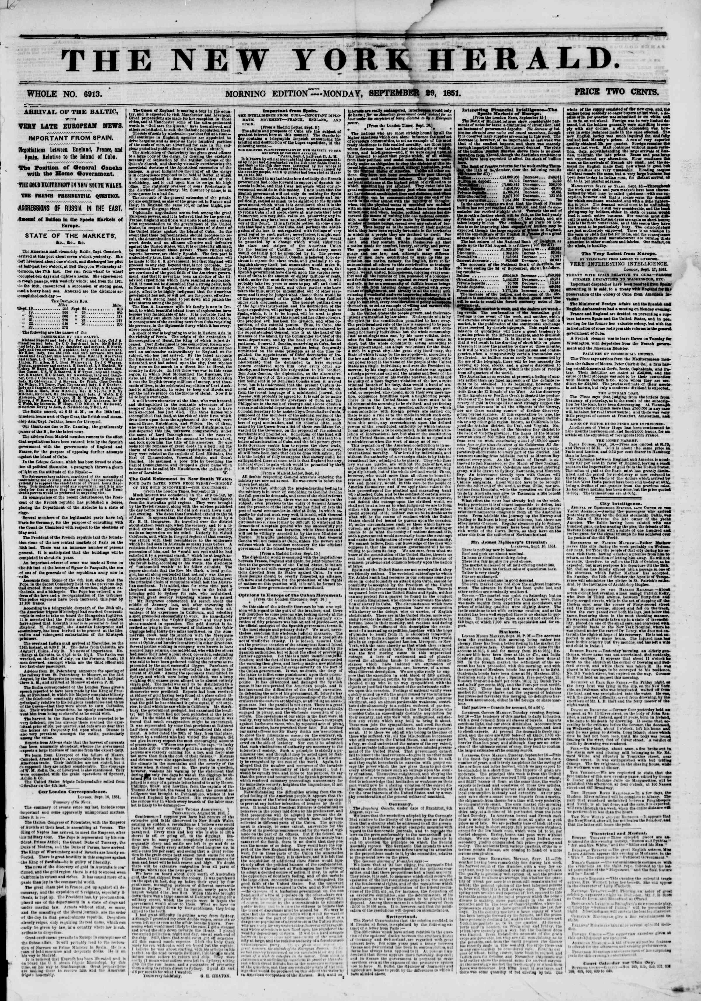 Newspaper of The New York Herald dated September 29, 1851 Page 1