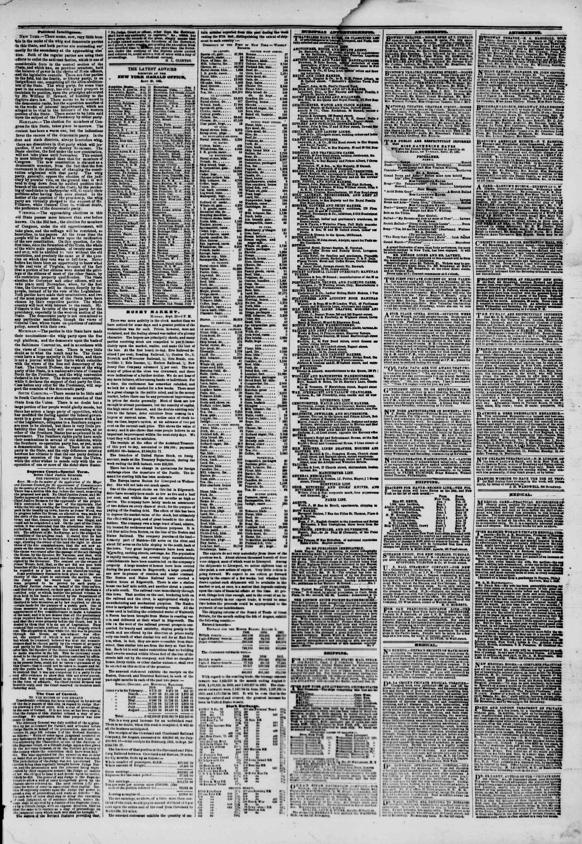 Newspaper of The New York Herald dated September 30, 1851 Page 5