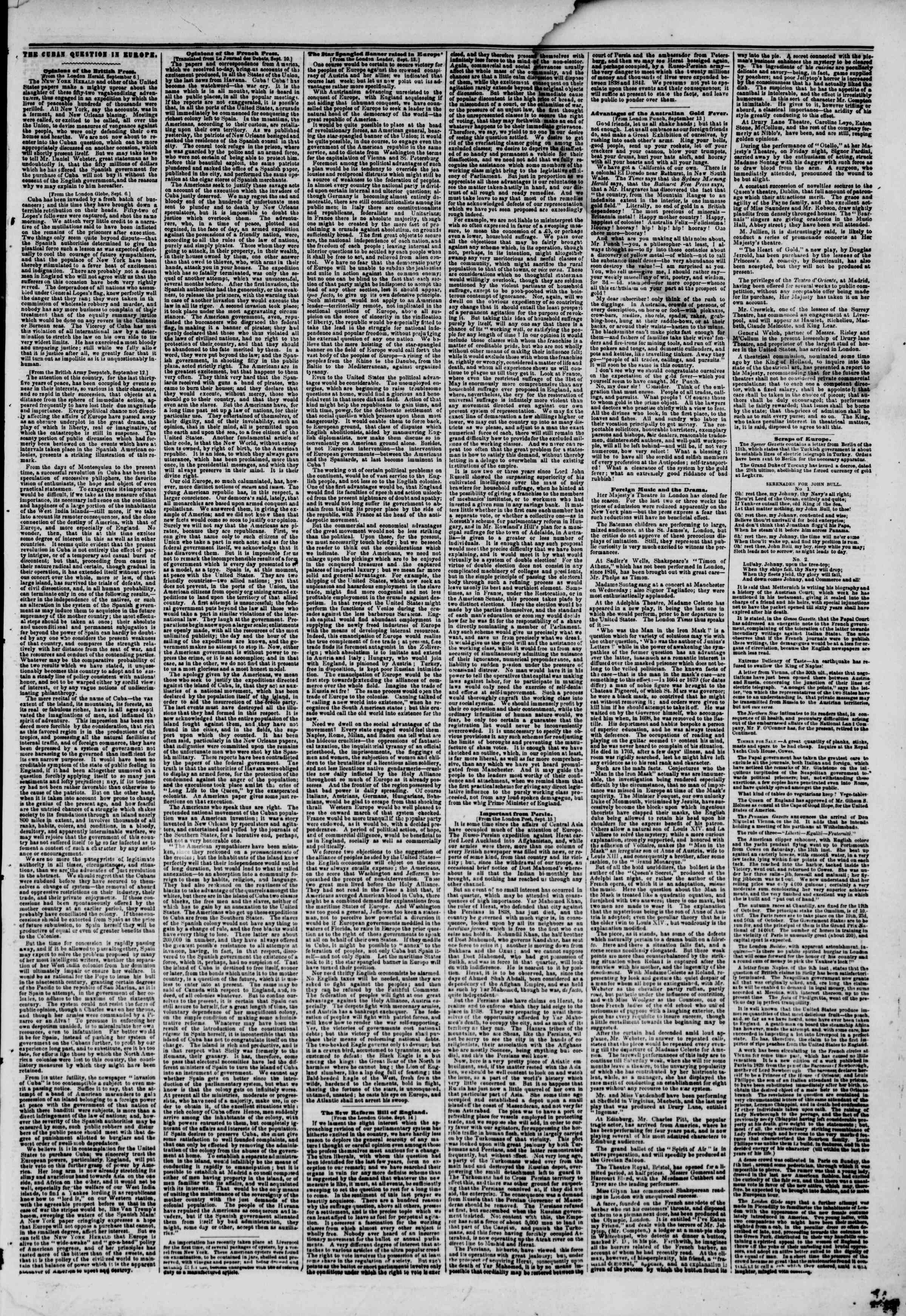 Newspaper of The New York Herald dated September 30, 1851 Page 7