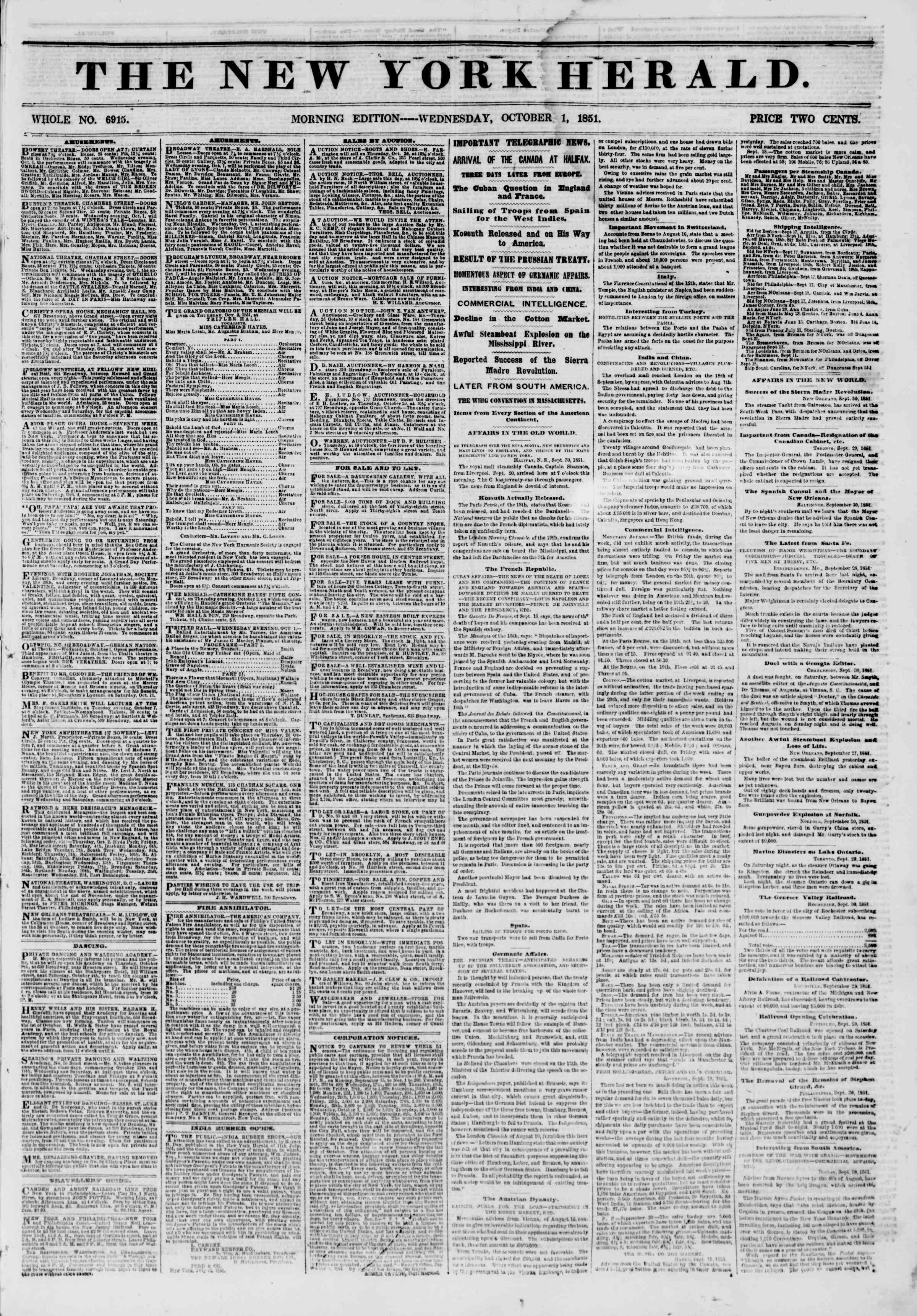 Newspaper of The New York Herald dated October 1, 1851 Page 1