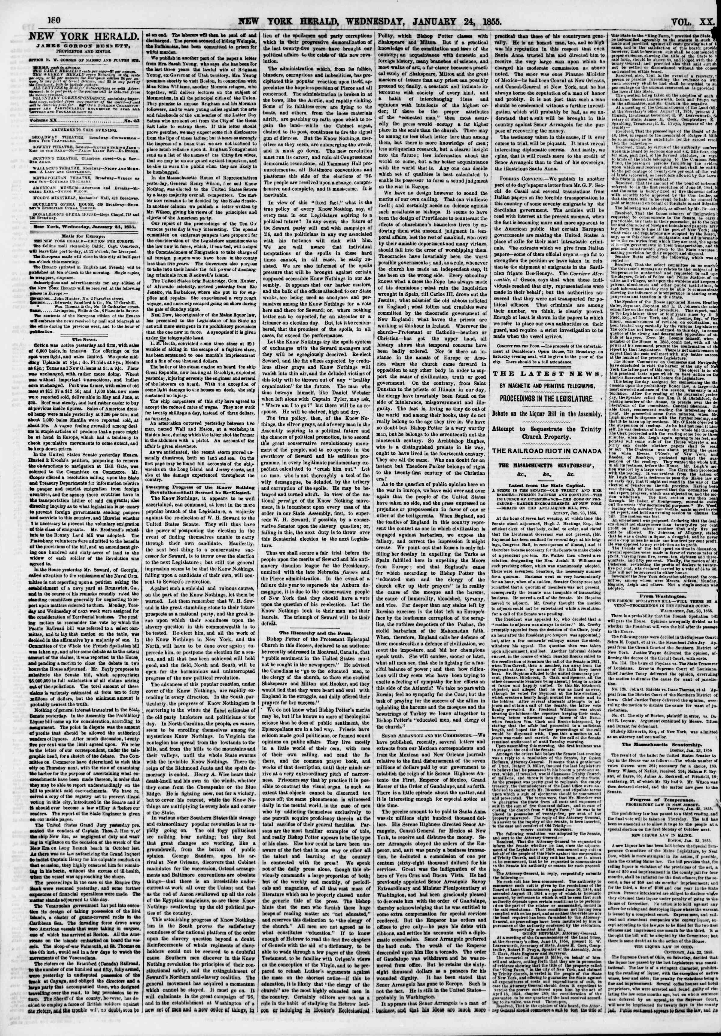 Newspaper of The New York Herald dated January 24, 1855 Page 4