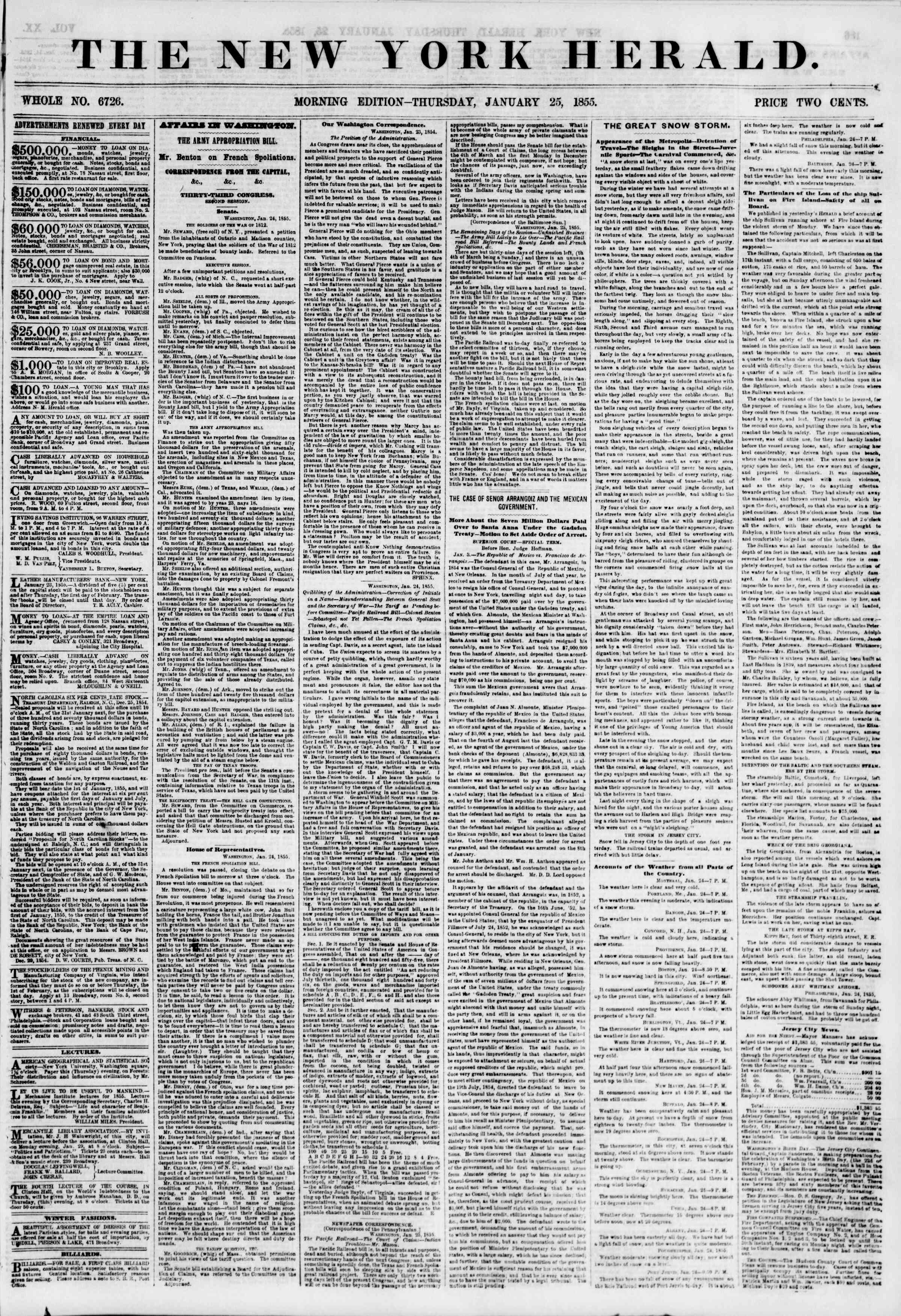 Newspaper of The New York Herald dated January 25, 1855 Page 1