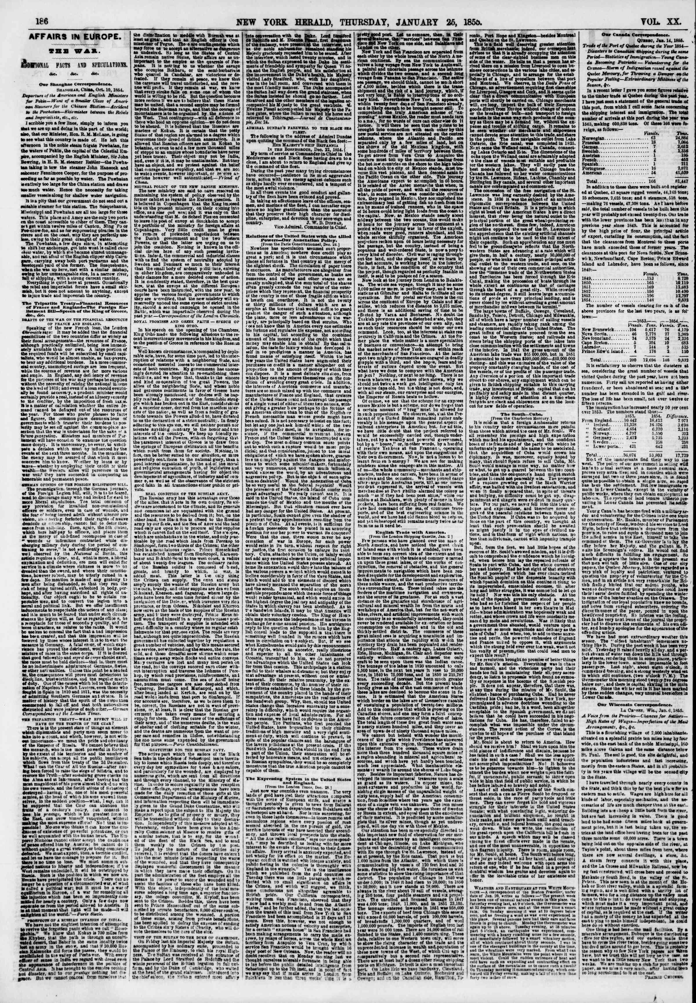 Newspaper of The New York Herald dated January 25, 1855 Page 2