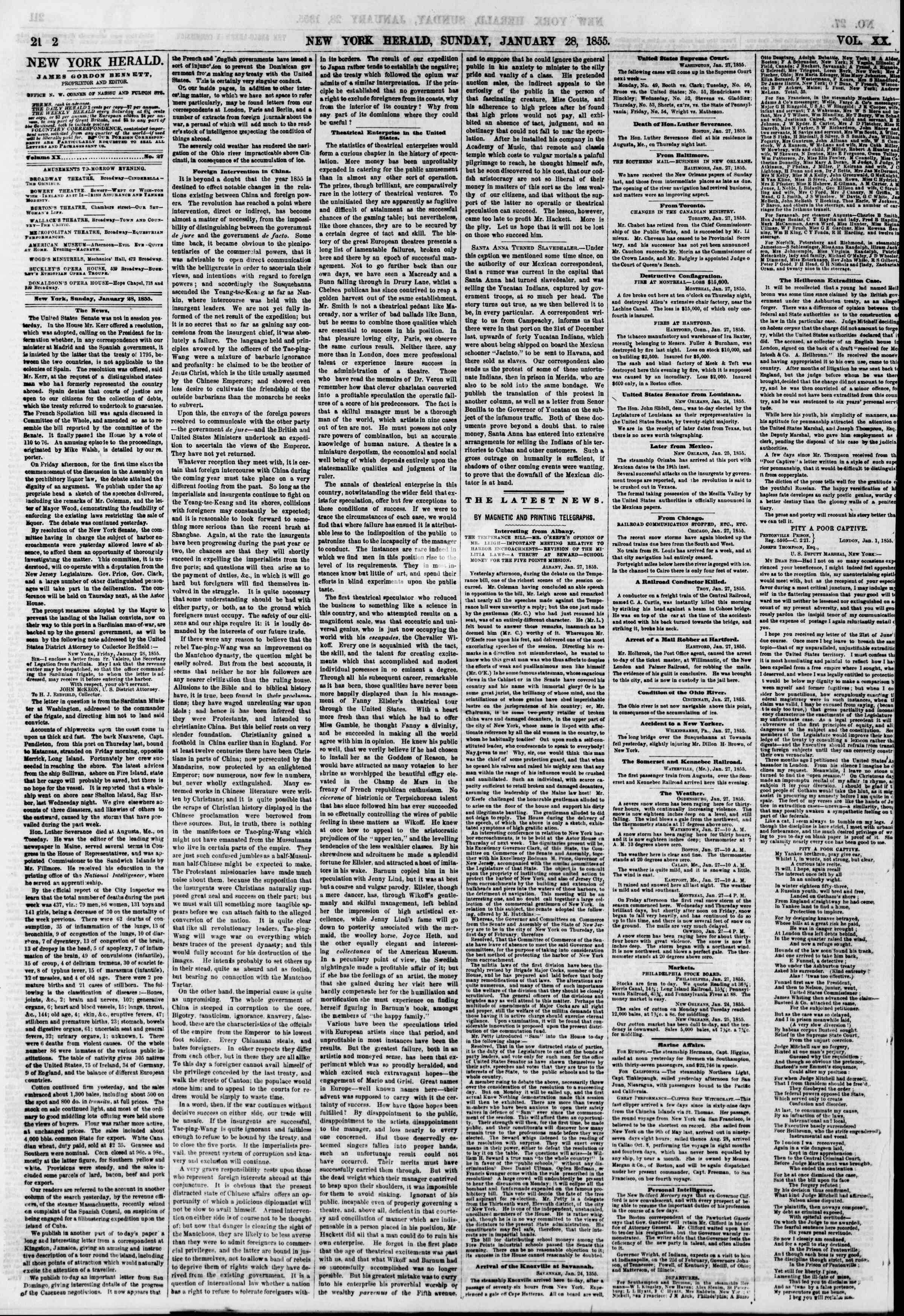 Newspaper of The New York Herald dated January 28, 1855 Page 4