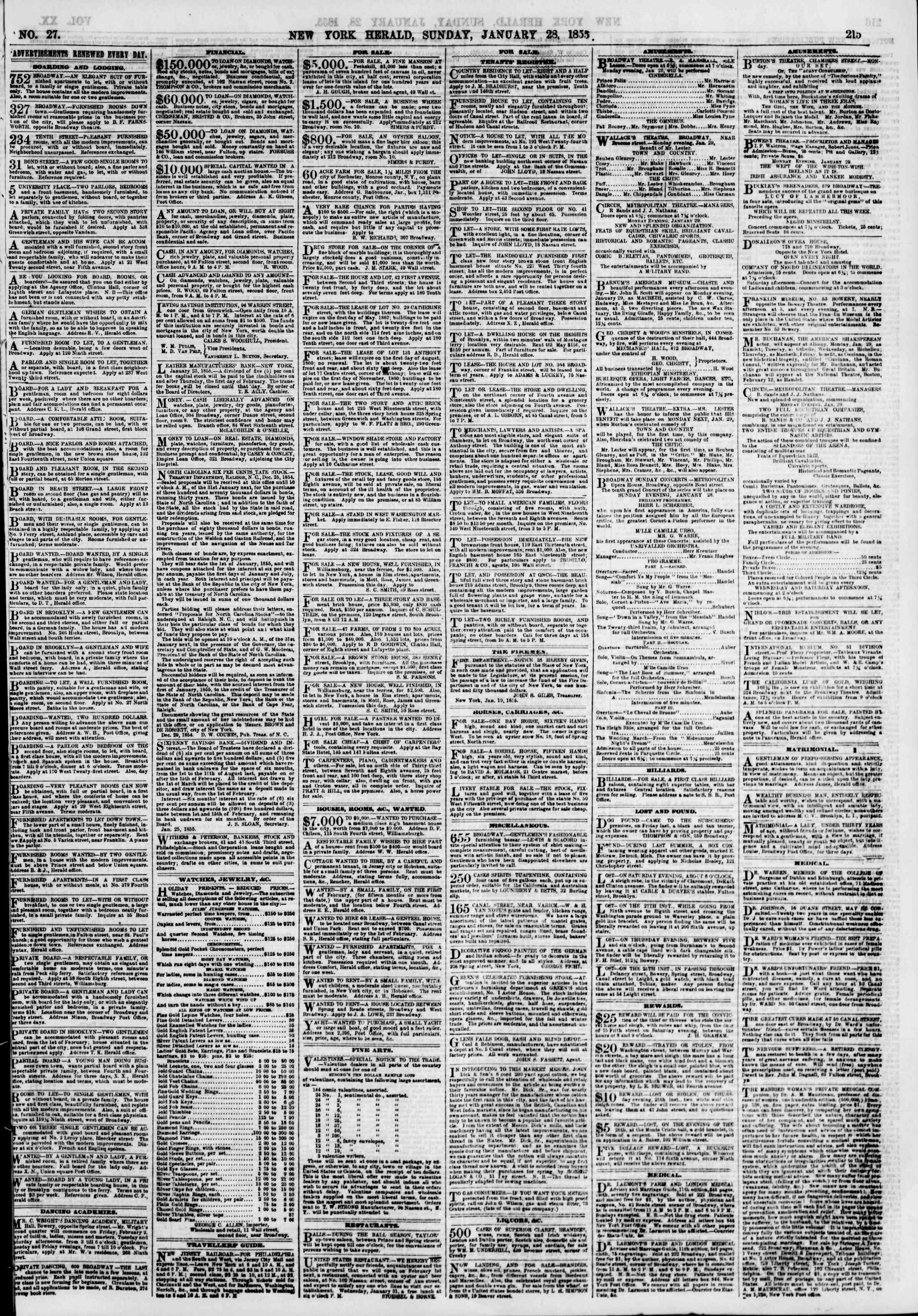 Newspaper of The New York Herald dated January 28, 1855 Page 7