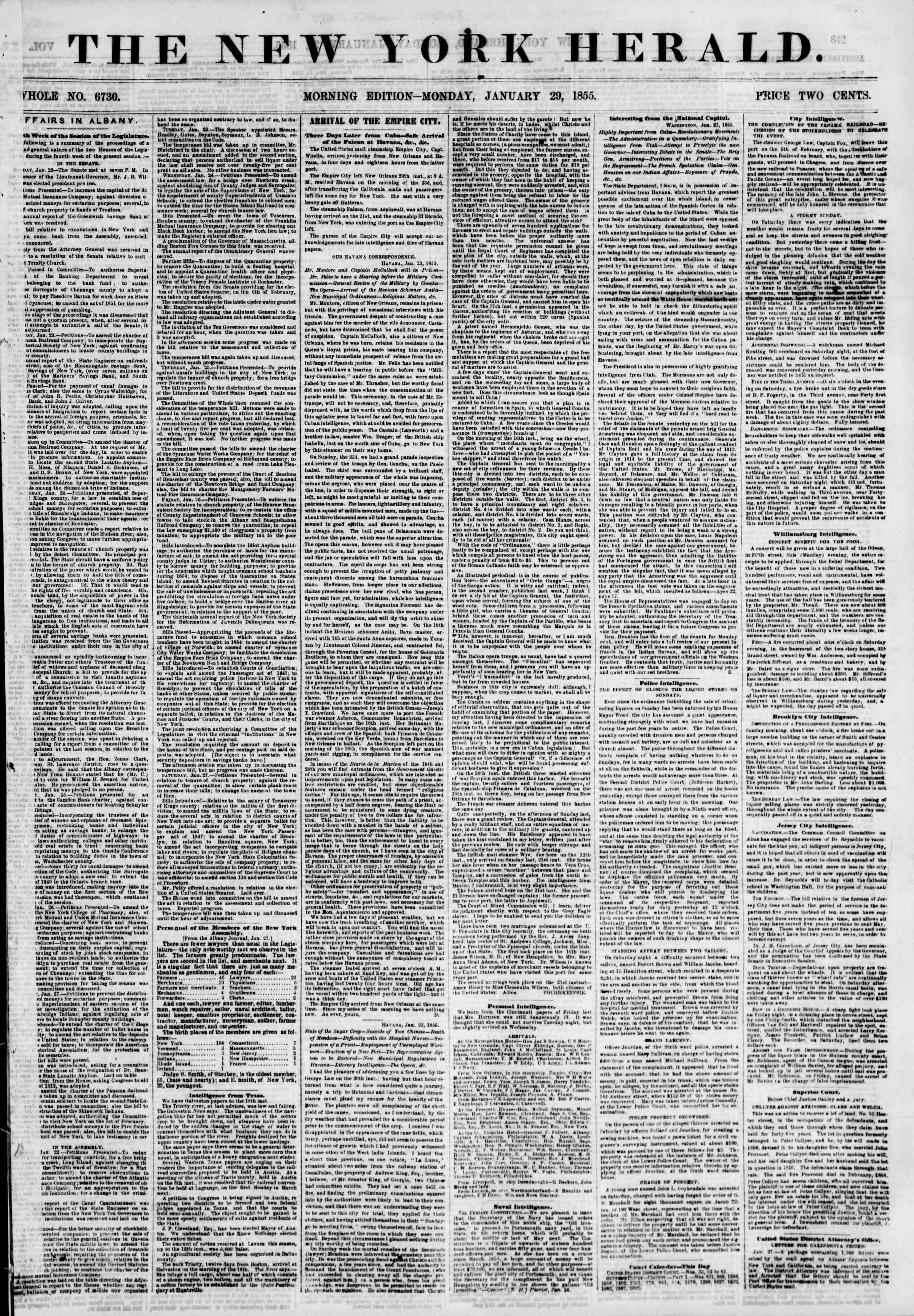 Newspaper of The New York Herald dated January 29, 1855 Page 1