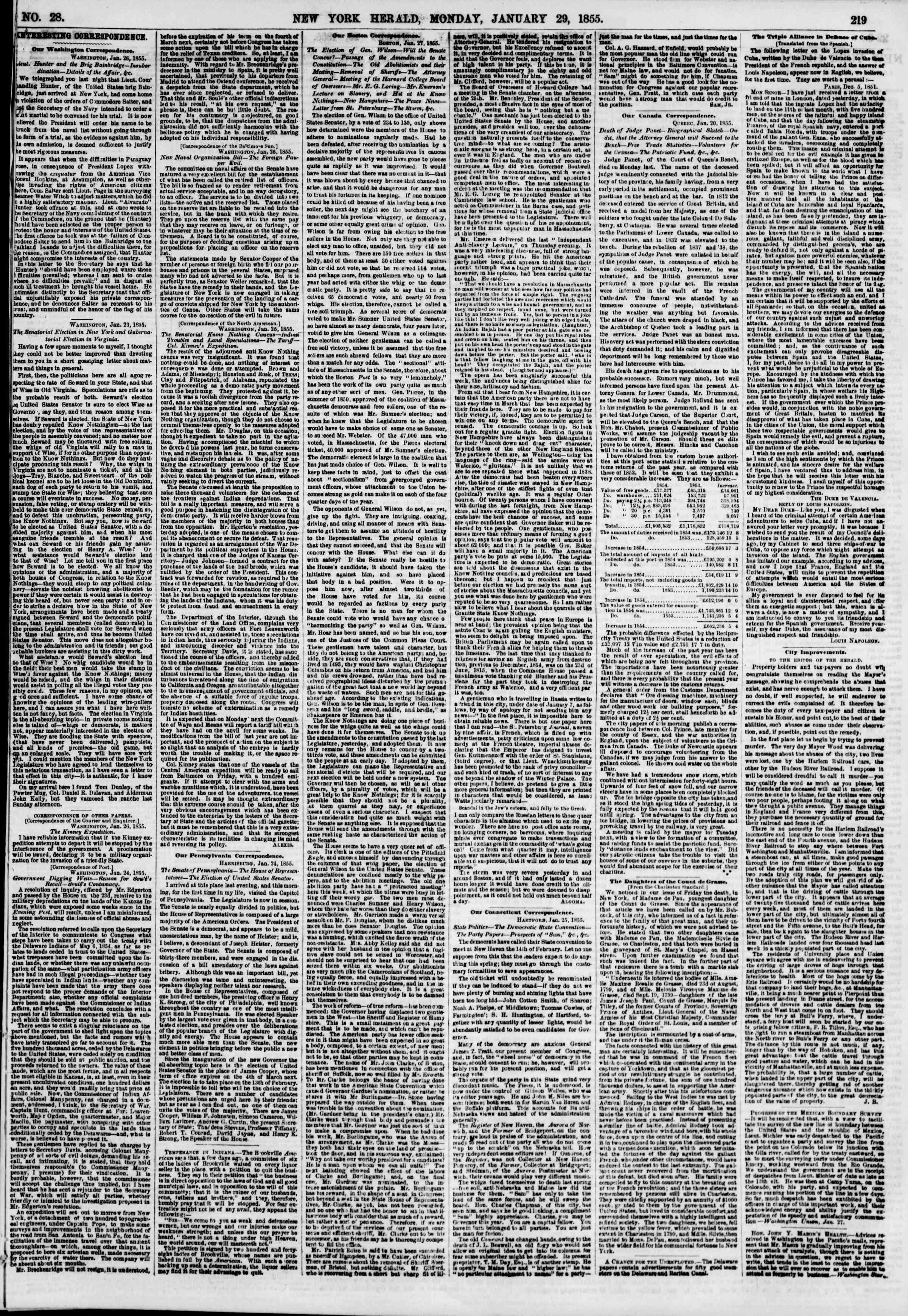 Newspaper of The New York Herald dated January 29, 1855 Page 3