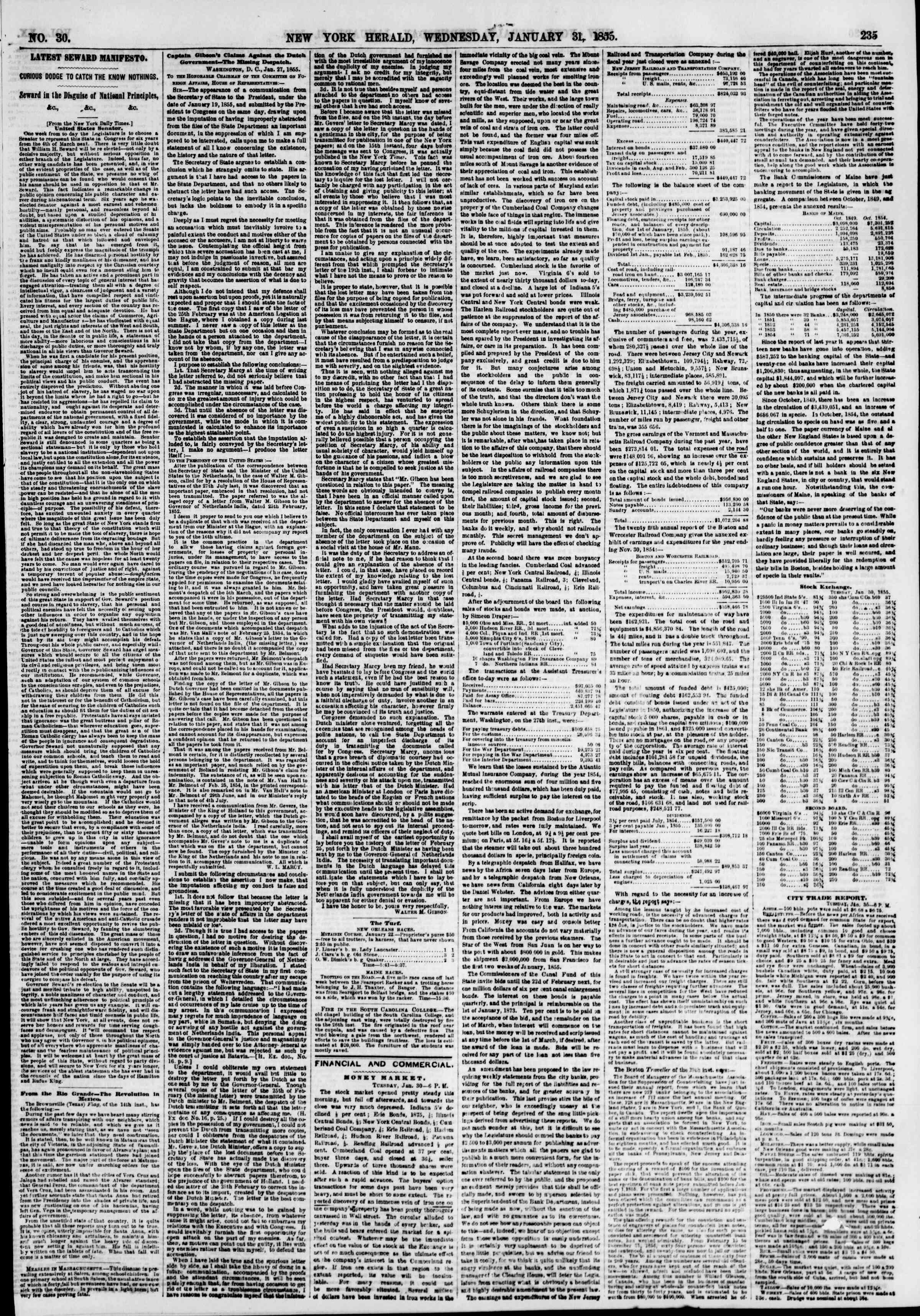 Newspaper of The New York Herald dated January 31, 1855 Page 3