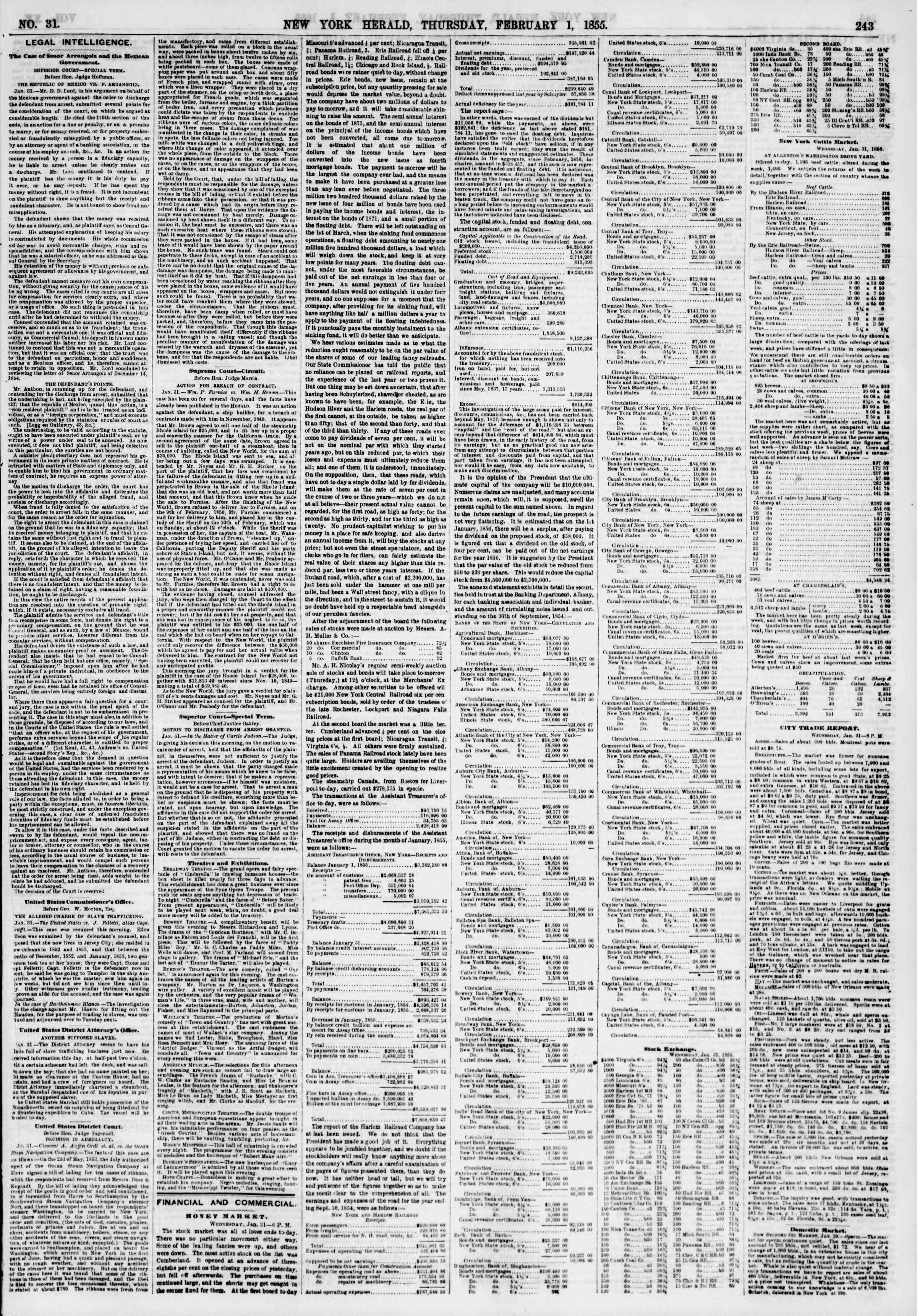 Newspaper of The New York Herald dated February 1, 1855 Page 3