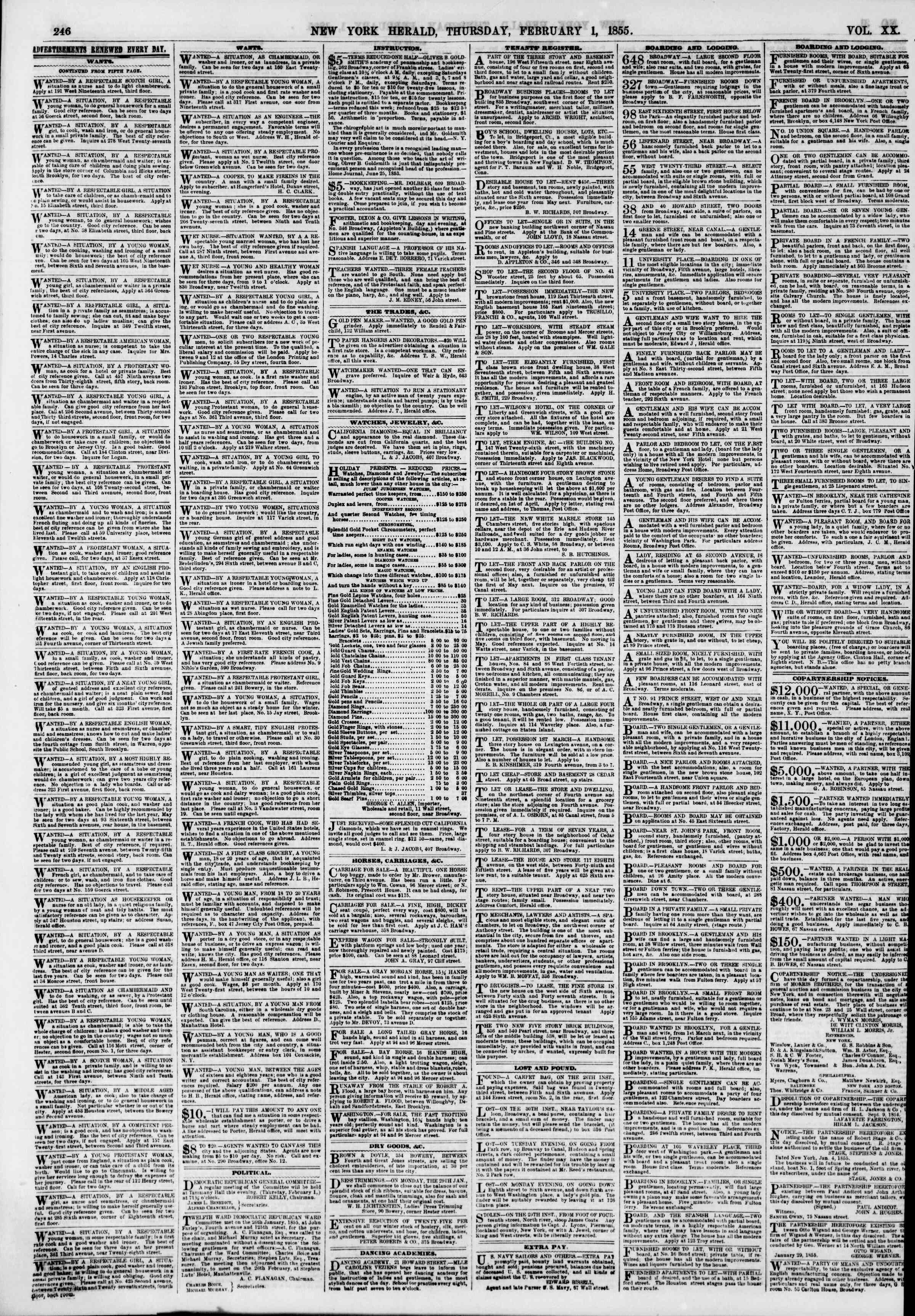 Newspaper of The New York Herald dated February 1, 1855 Page 6