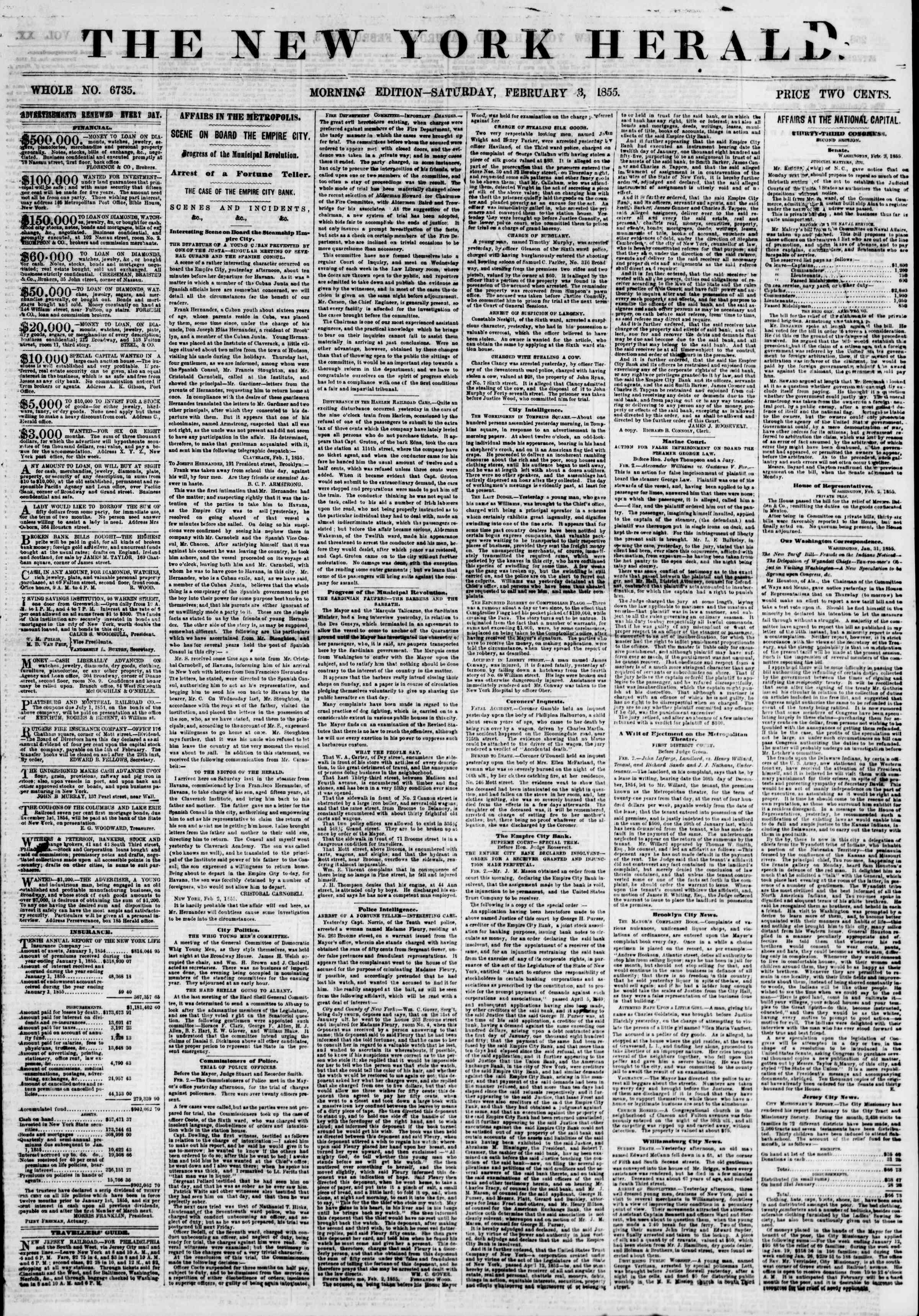 Newspaper of The New York Herald dated February 3, 1855 Page 1