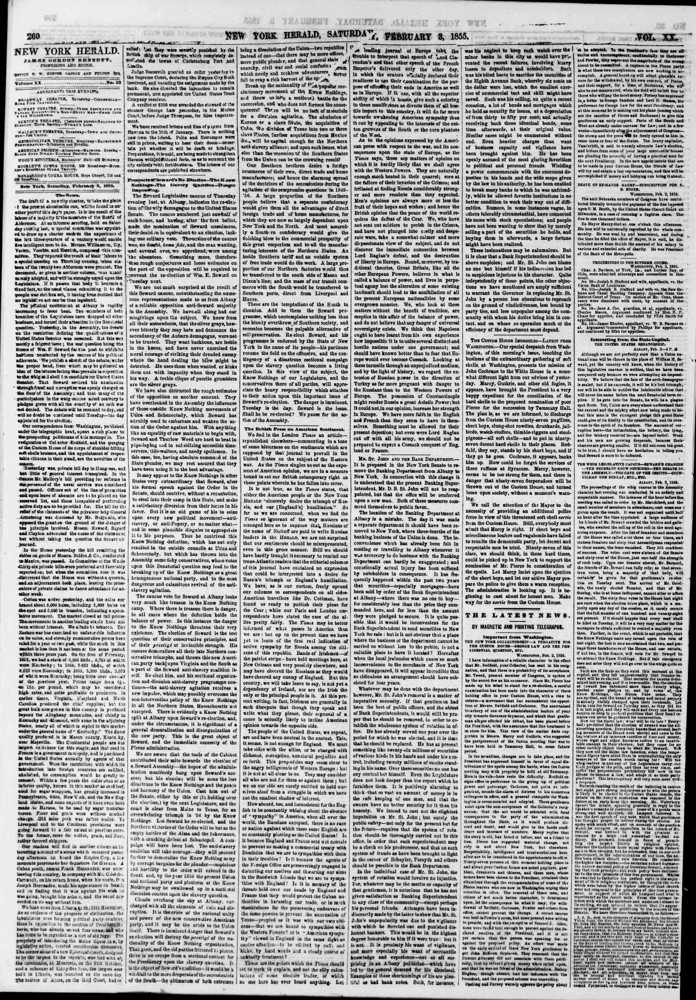 Newspaper of The New York Herald dated February 3, 1855 Page 4