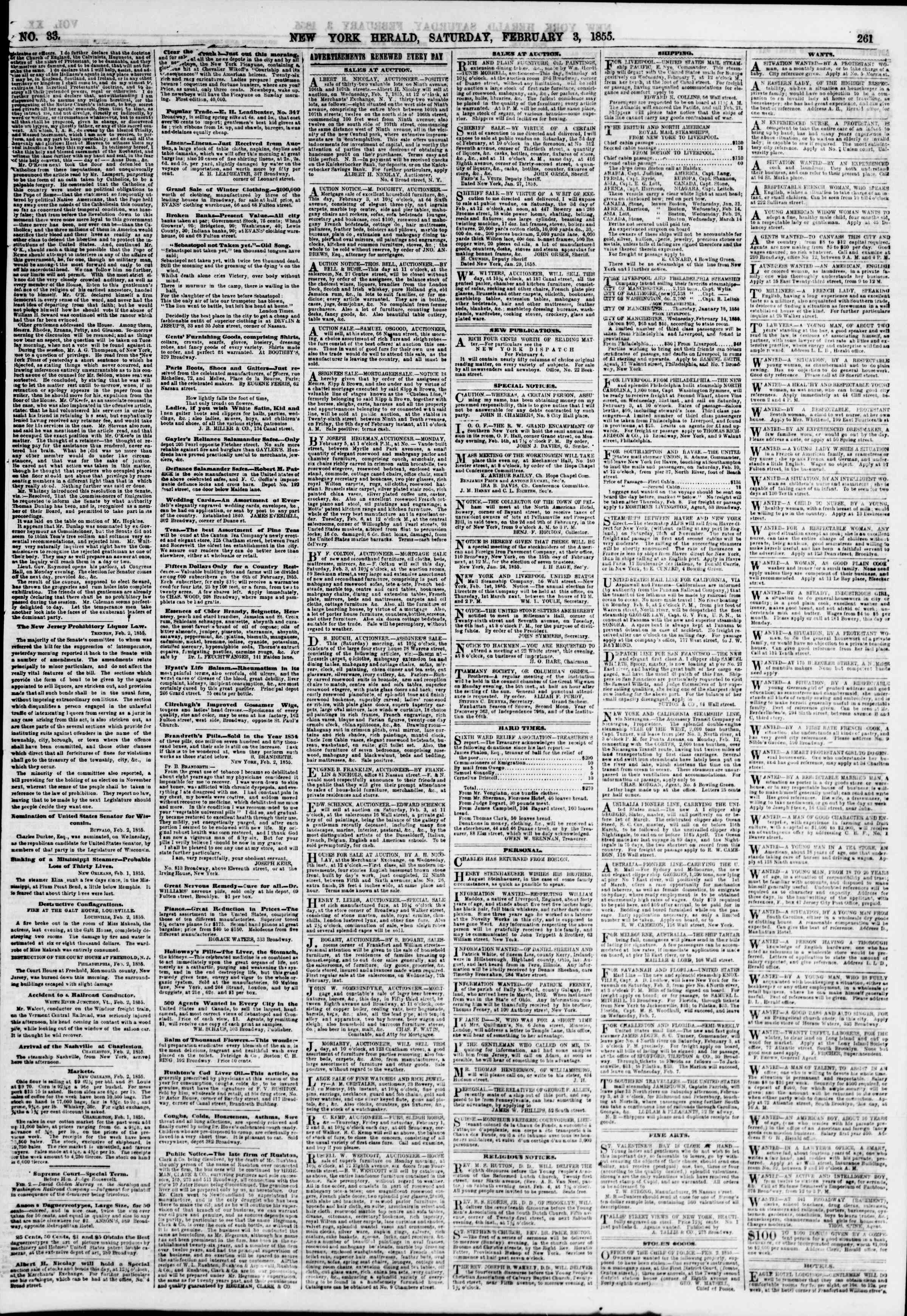 Newspaper of The New York Herald dated February 3, 1855 Page 5