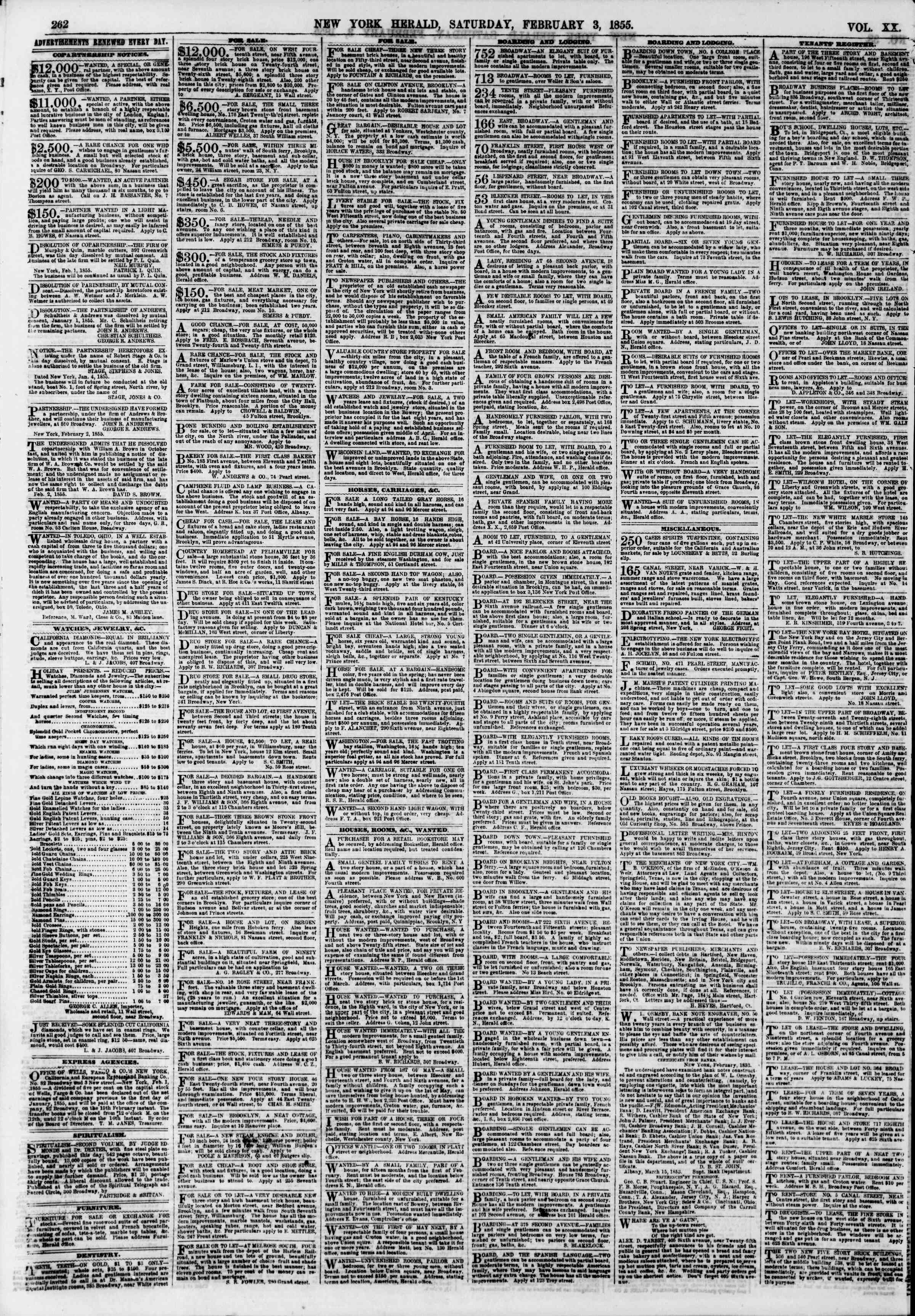 Newspaper of The New York Herald dated February 3, 1855 Page 6