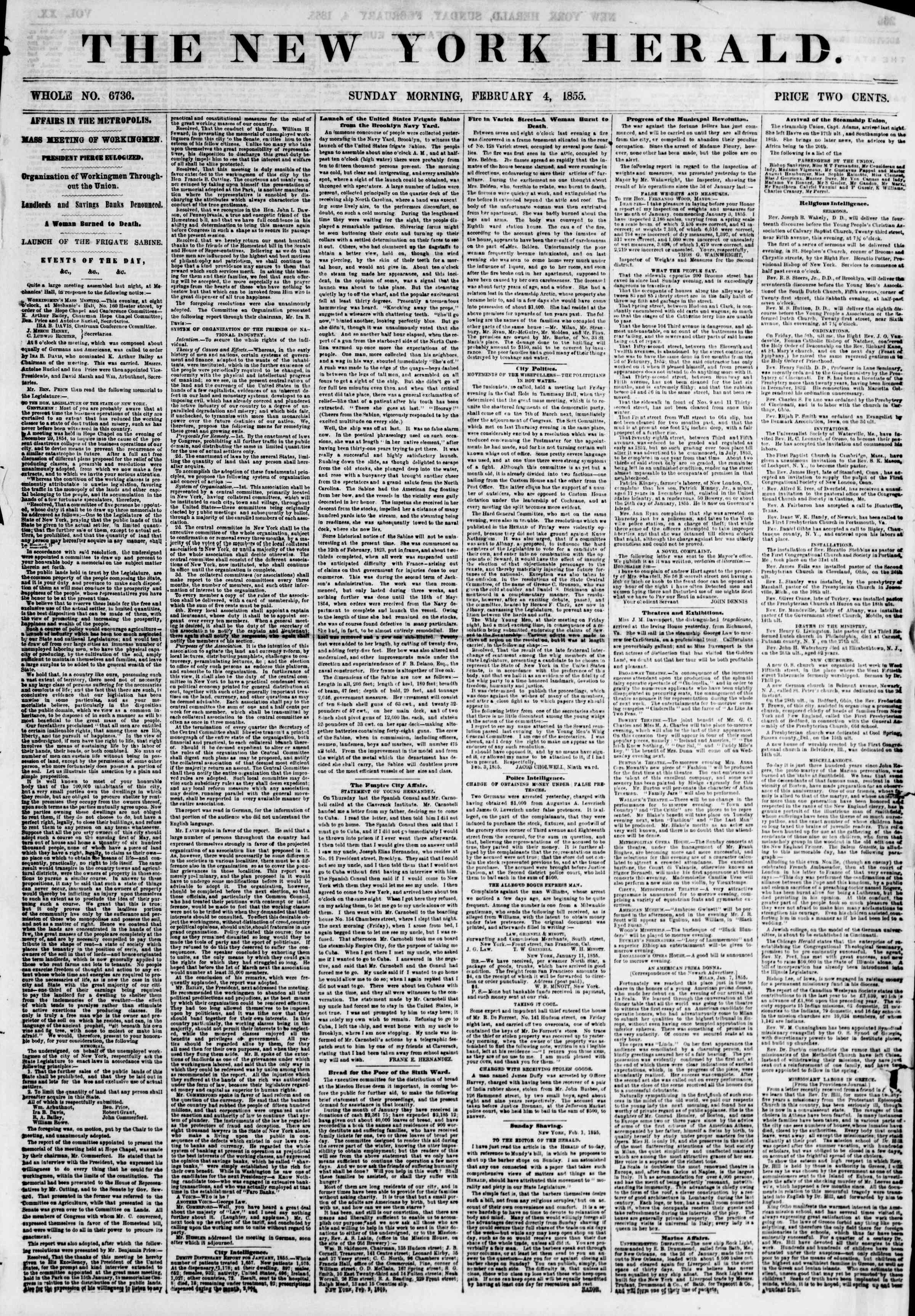 Newspaper of The New York Herald dated February 4, 1855 Page 1