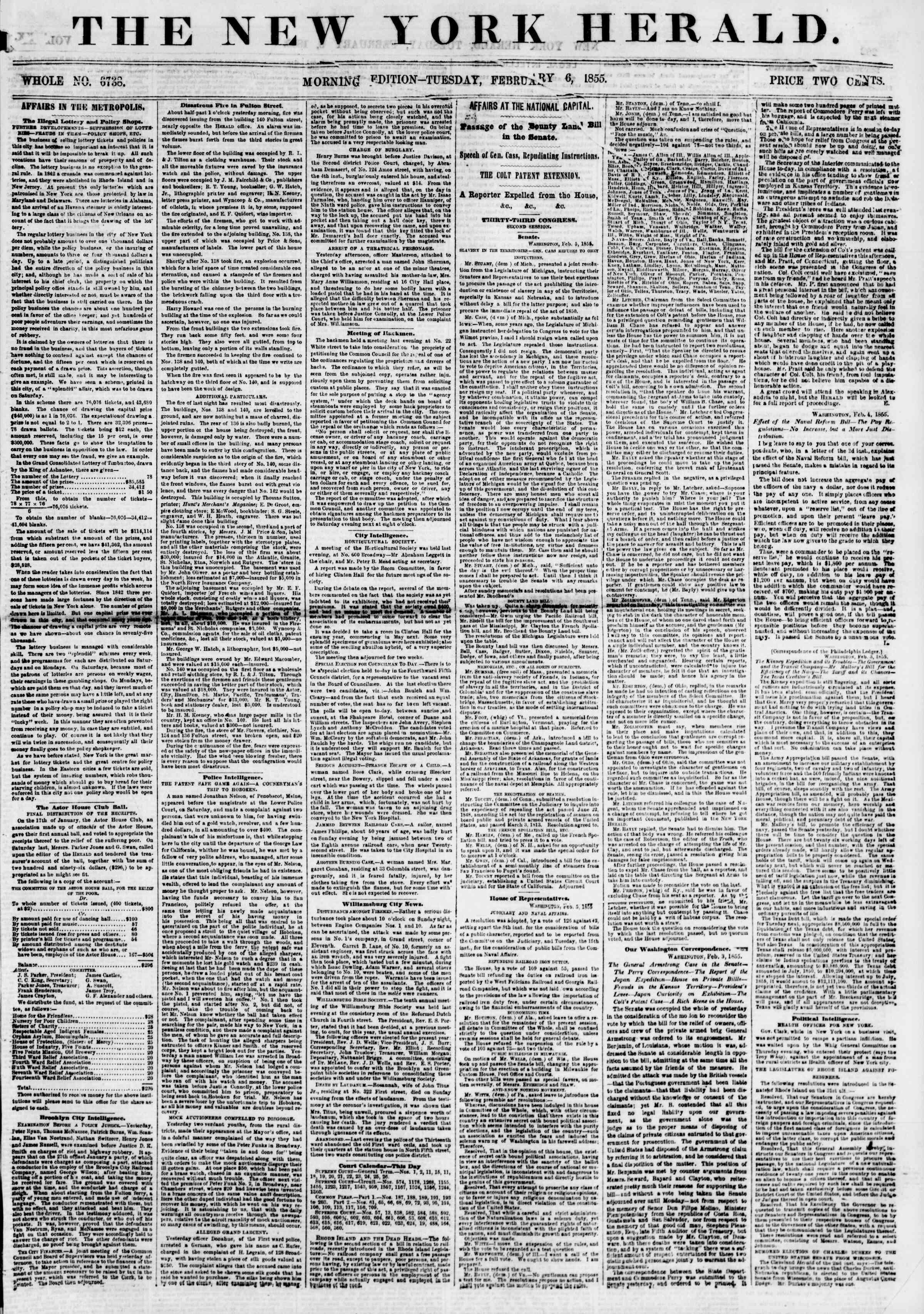 Newspaper of The New York Herald dated February 6, 1855 Page 1