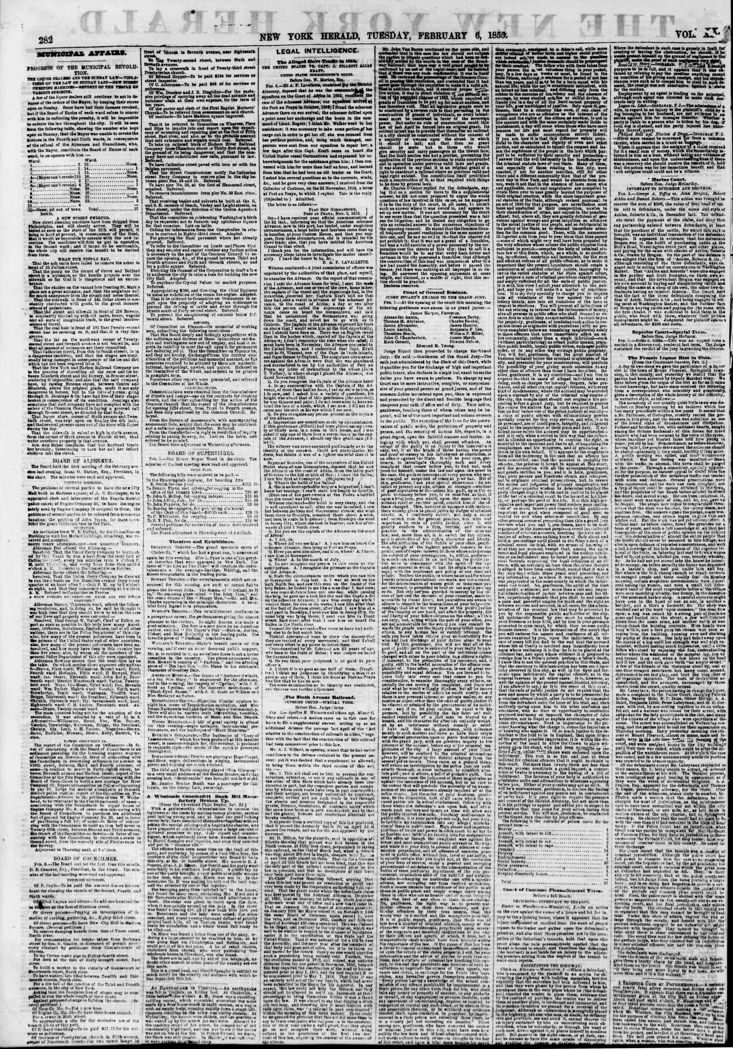 Newspaper of The New York Herald dated February 6, 1855 Page 2