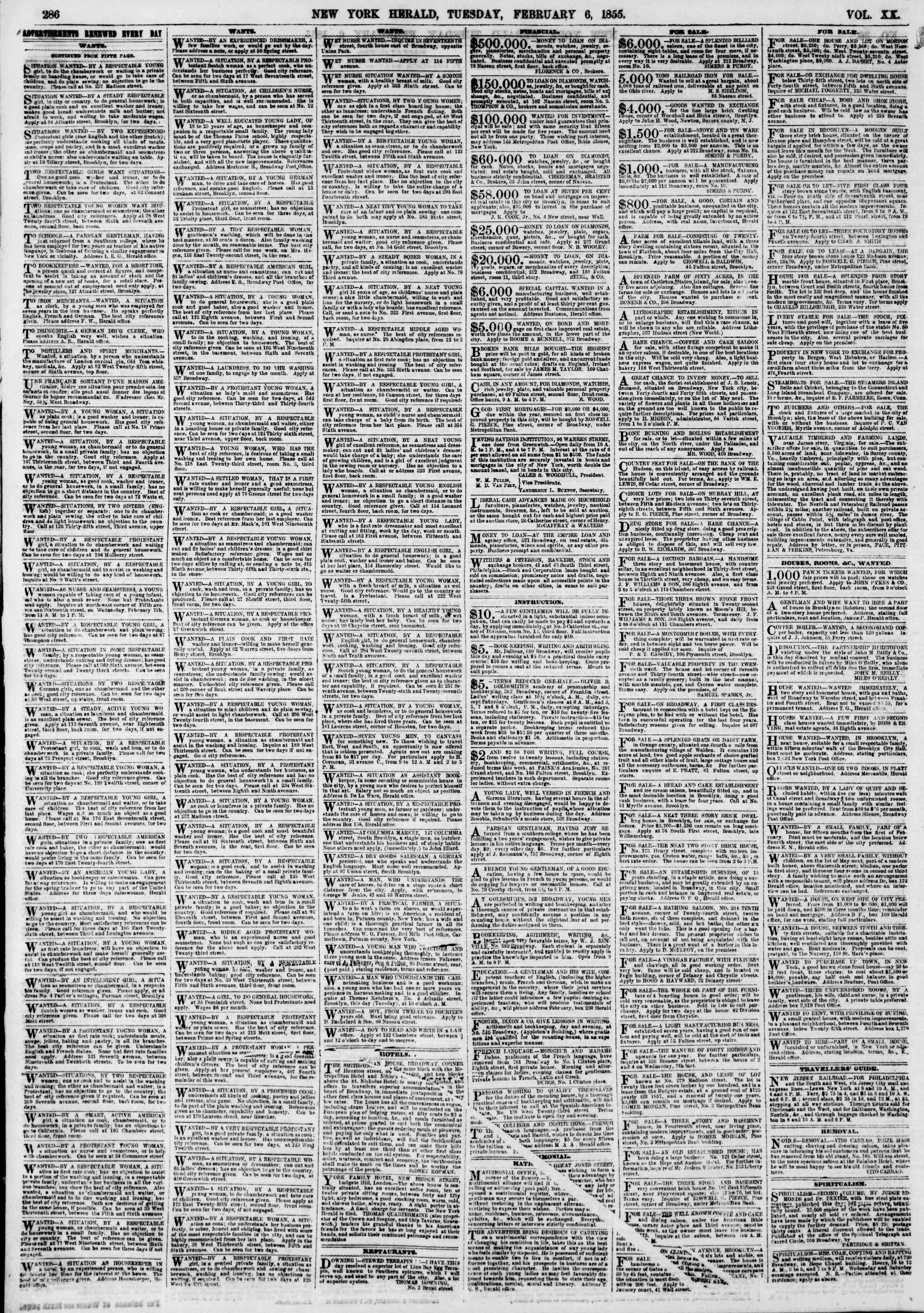 Newspaper of The New York Herald dated February 6, 1855 Page 6