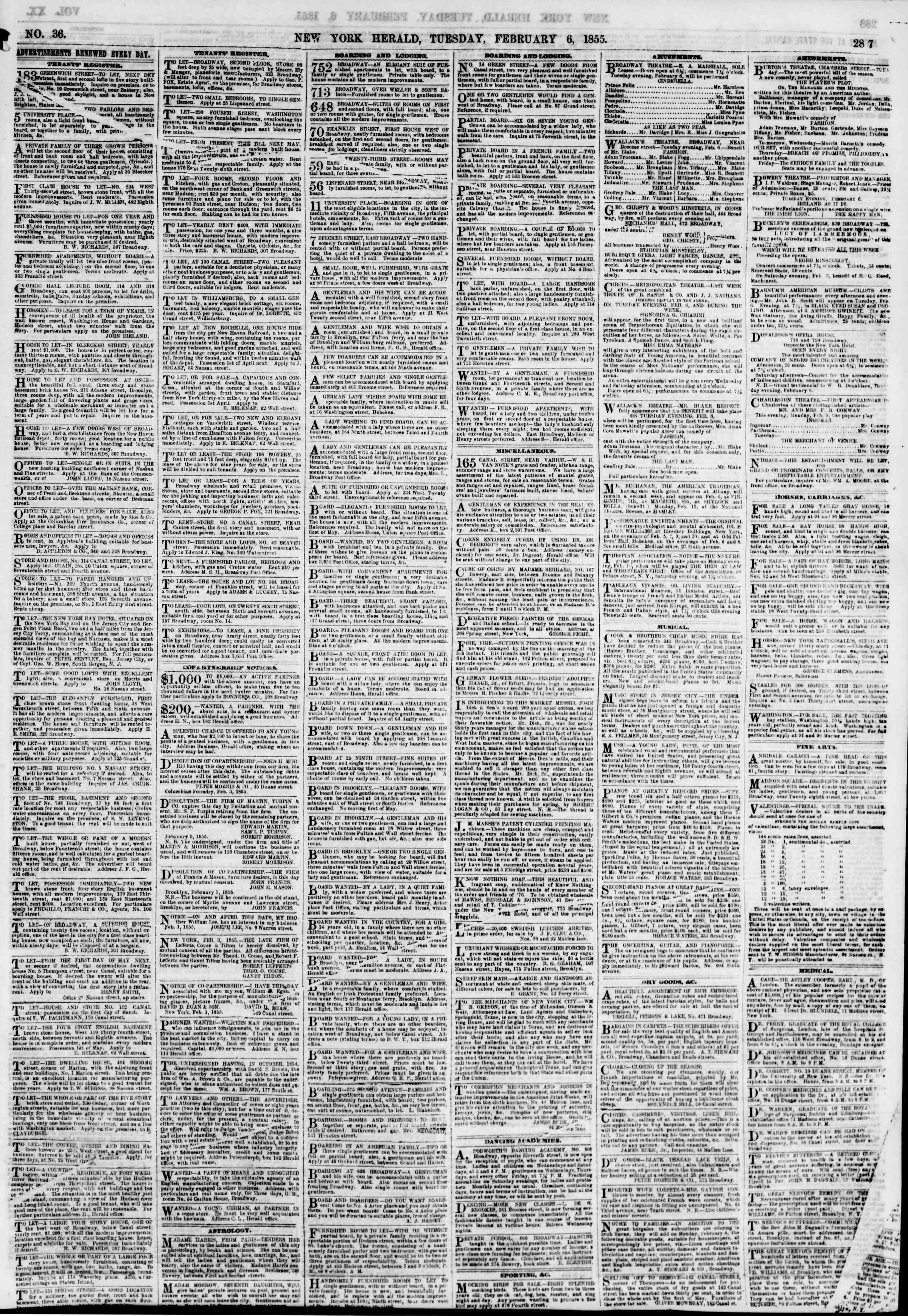 February 6, 1855 tarihli The New York Herald Gazetesi Sayfa 7