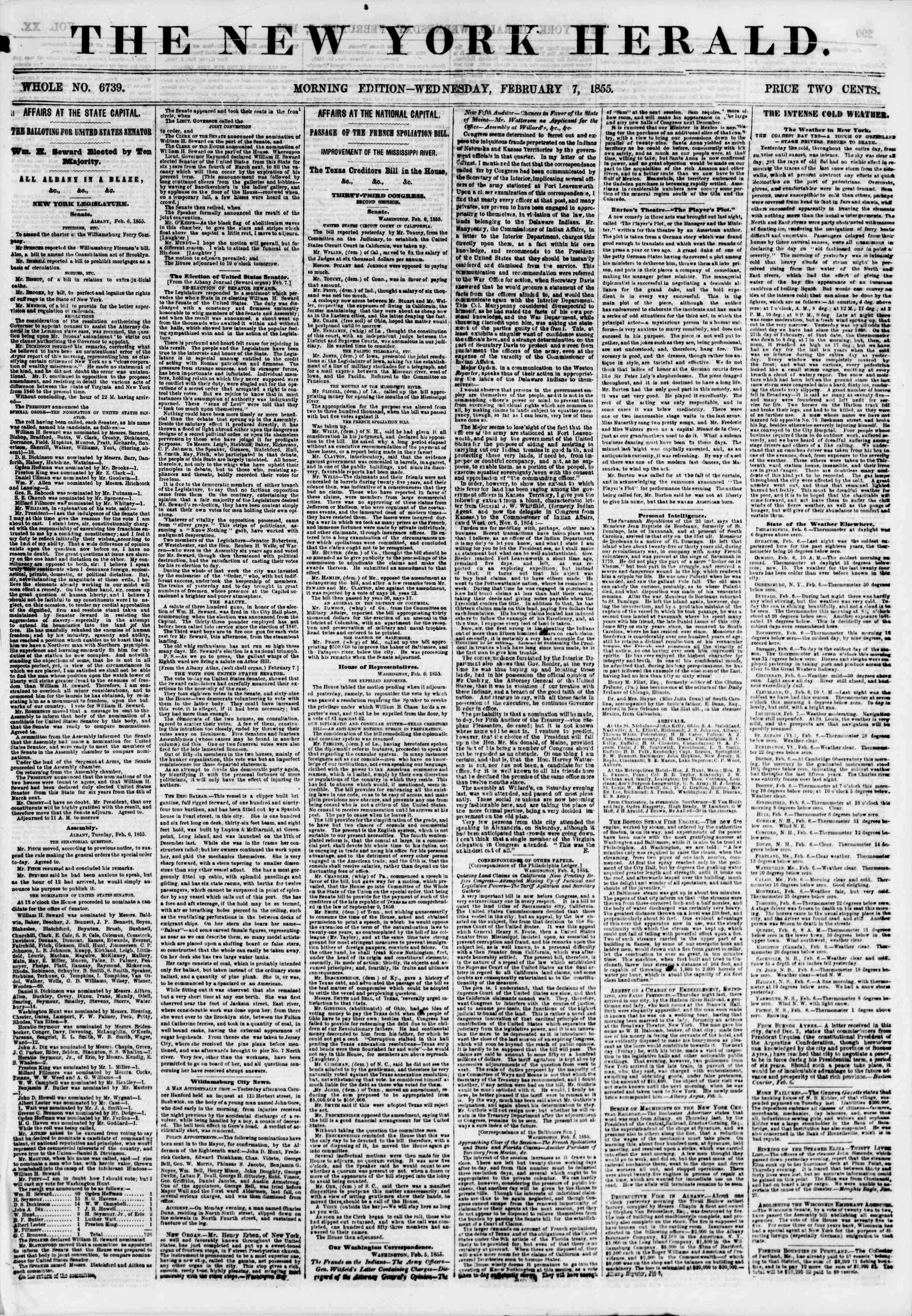 Newspaper of The New York Herald dated February 7, 1855 Page 1