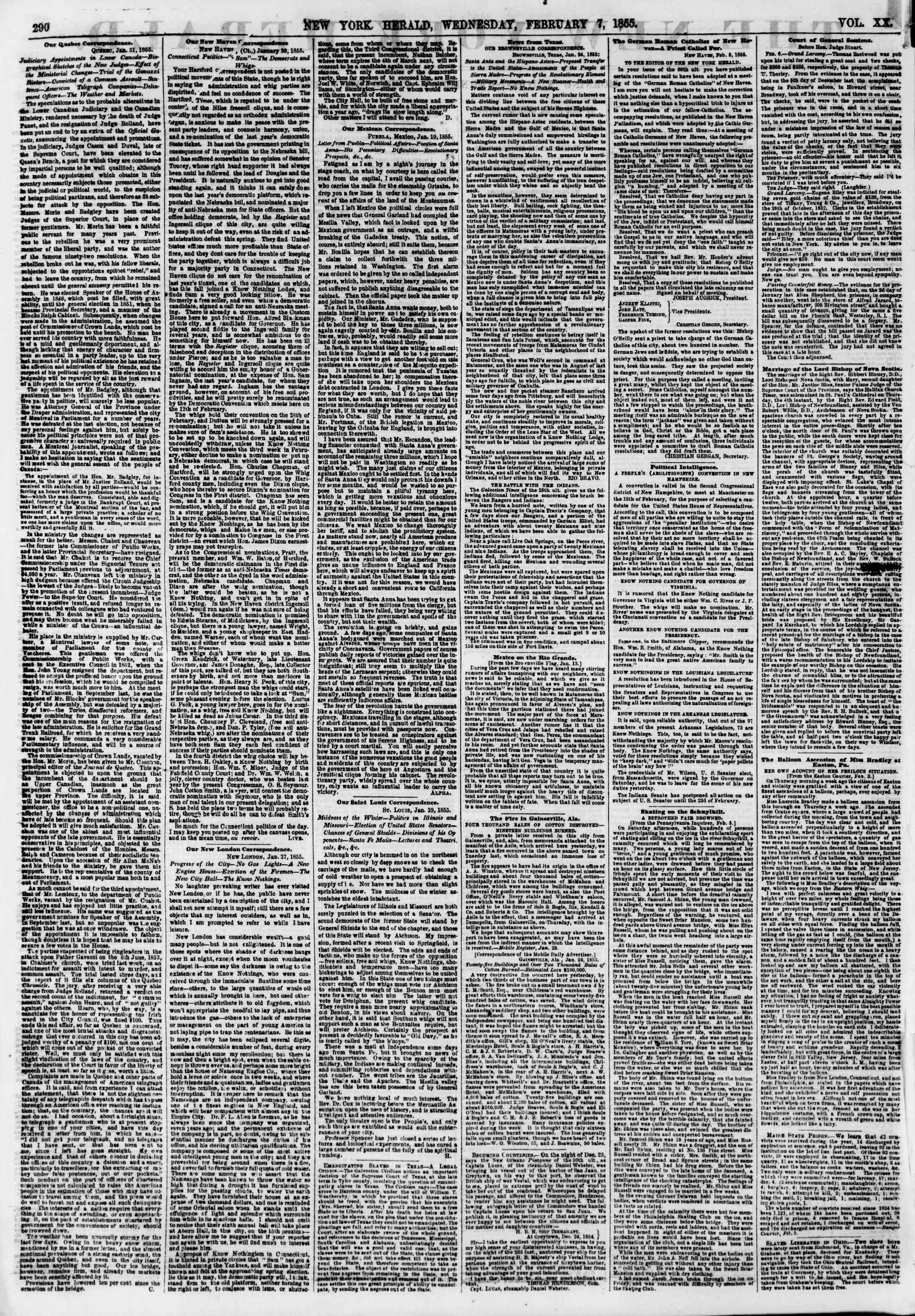 Newspaper of The New York Herald dated February 7, 1855 Page 2