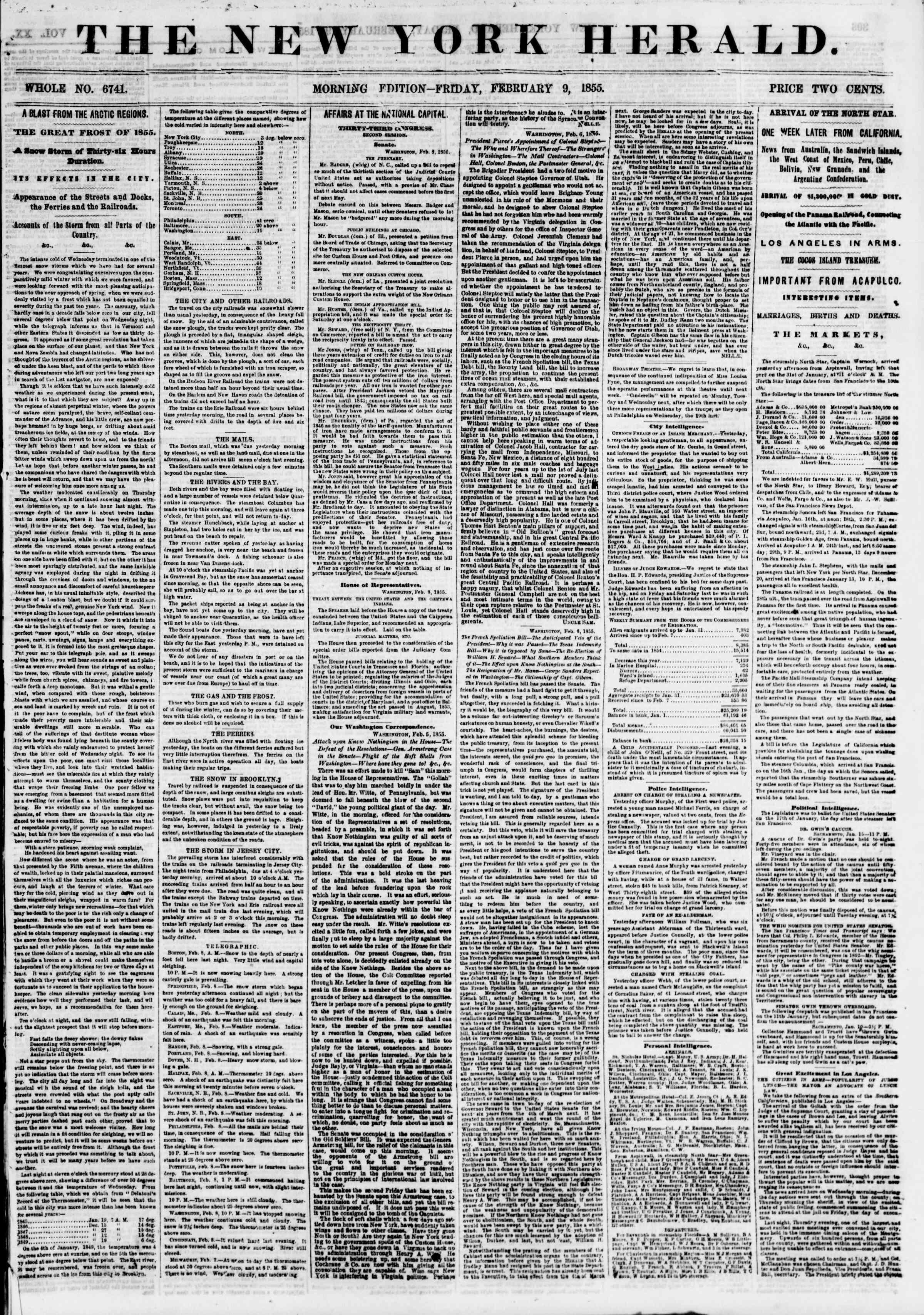 Newspaper of The New York Herald dated February 9, 1855 Page 1