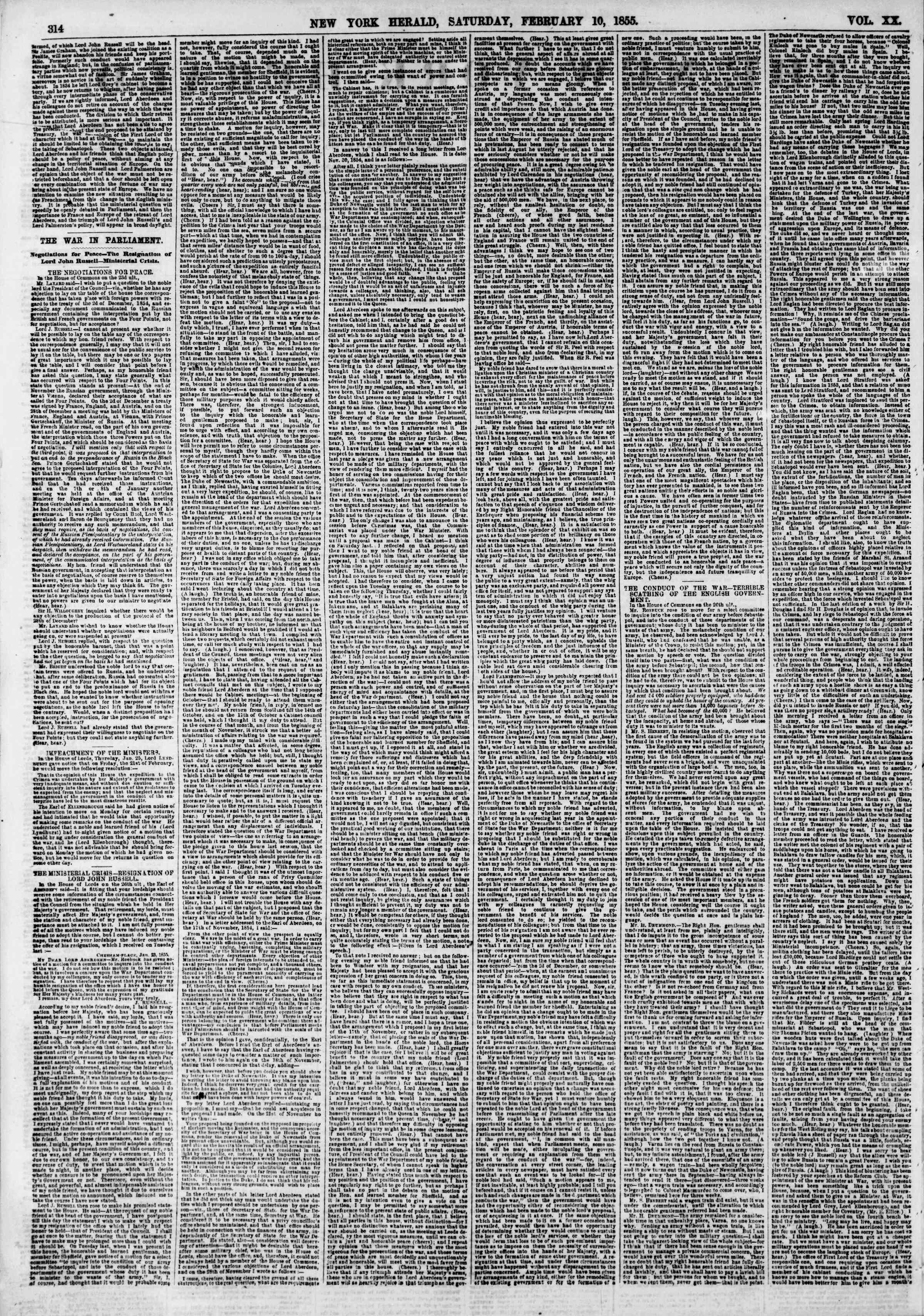 Newspaper of The New York Herald dated February 10, 1855 Page 2