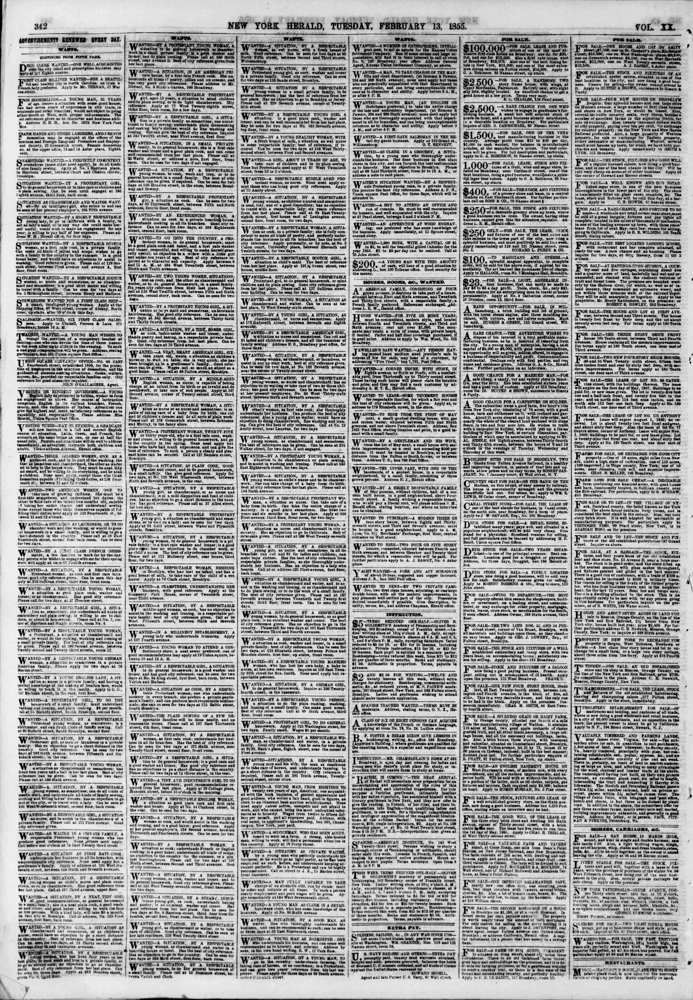 Newspaper of The New York Herald dated February 13, 1855 Page 6