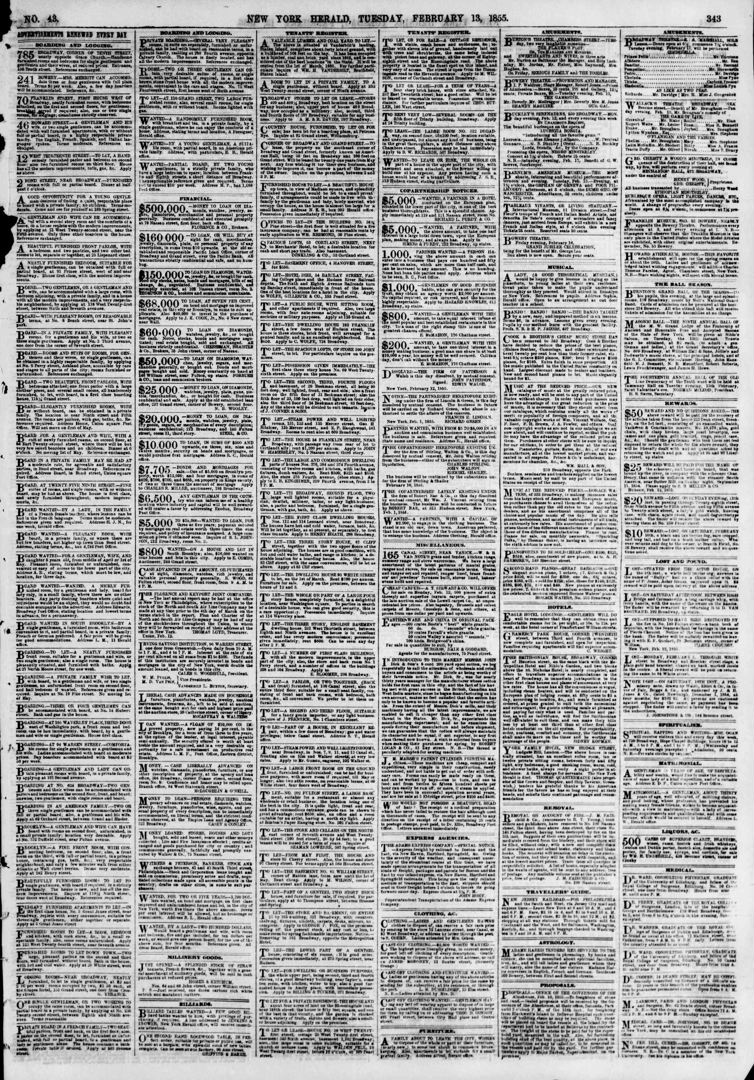 Newspaper of The New York Herald dated February 13, 1855 Page 7