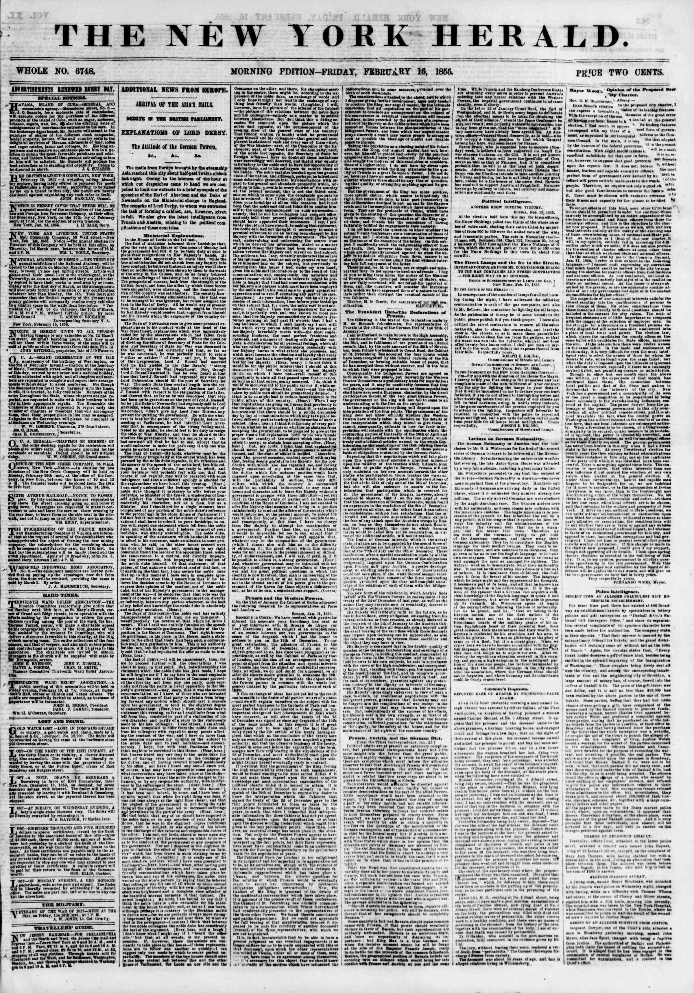 Newspaper of The New York Herald dated February 16, 1855 Page 1