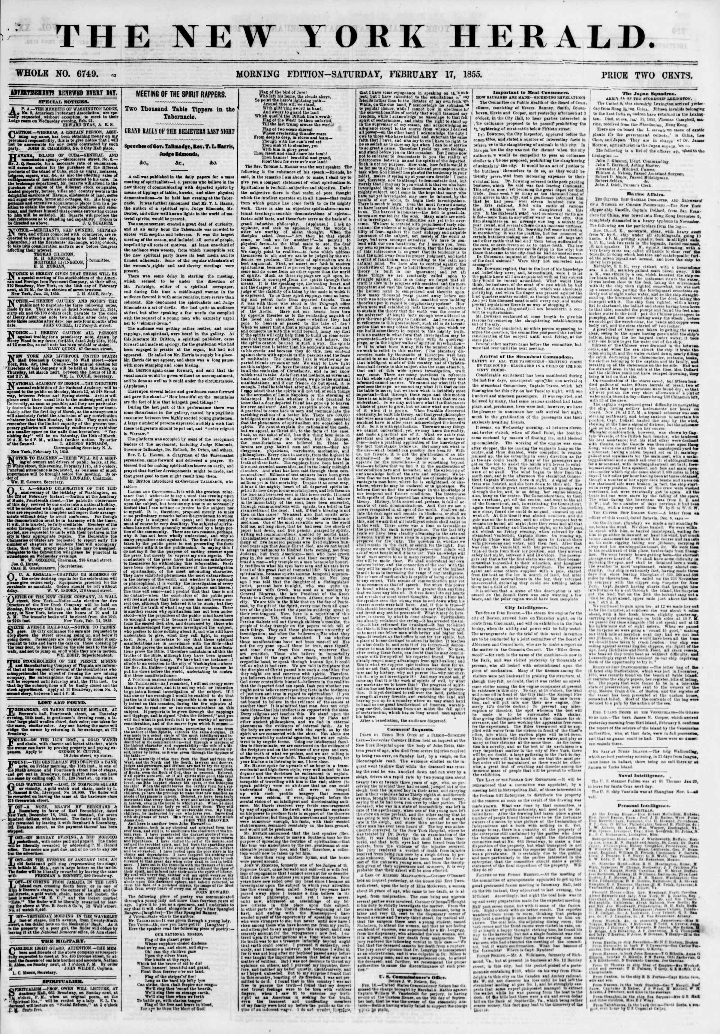 Newspaper of The New York Herald dated February 17, 1855 Page 1