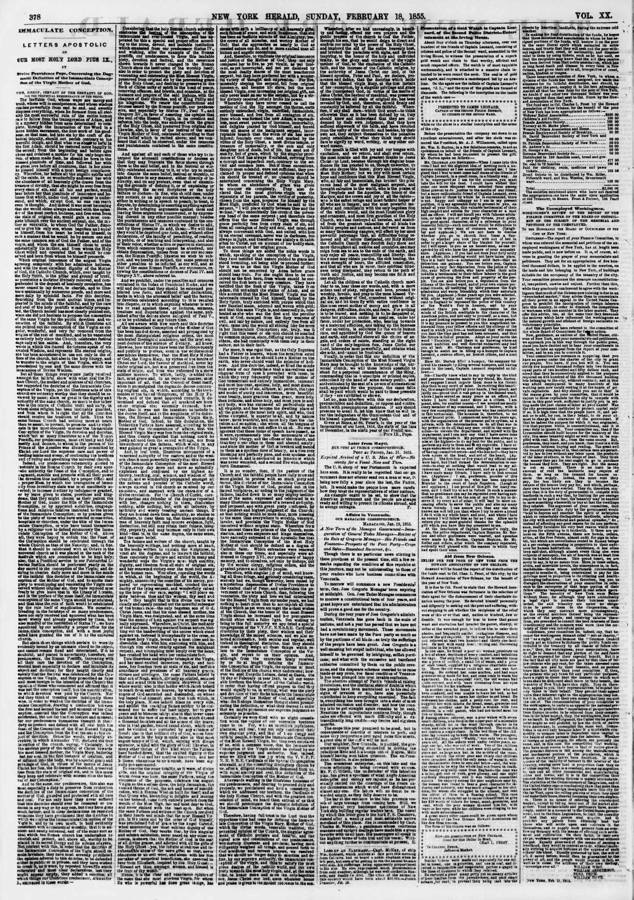 Newspaper of The New York Herald dated February 18, 1855 Page 2