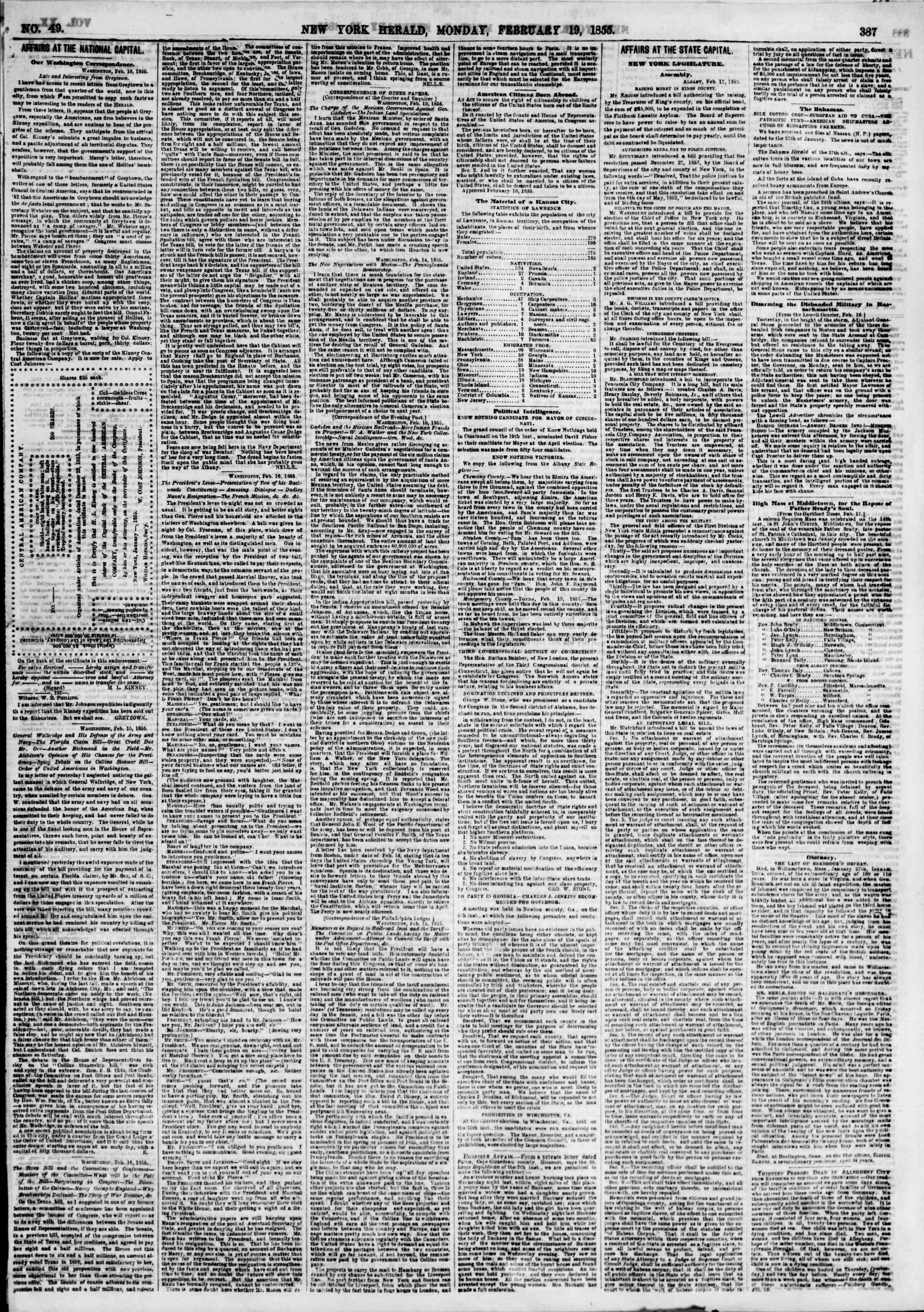 Newspaper of The New York Herald dated February 19, 1855 Page 3
