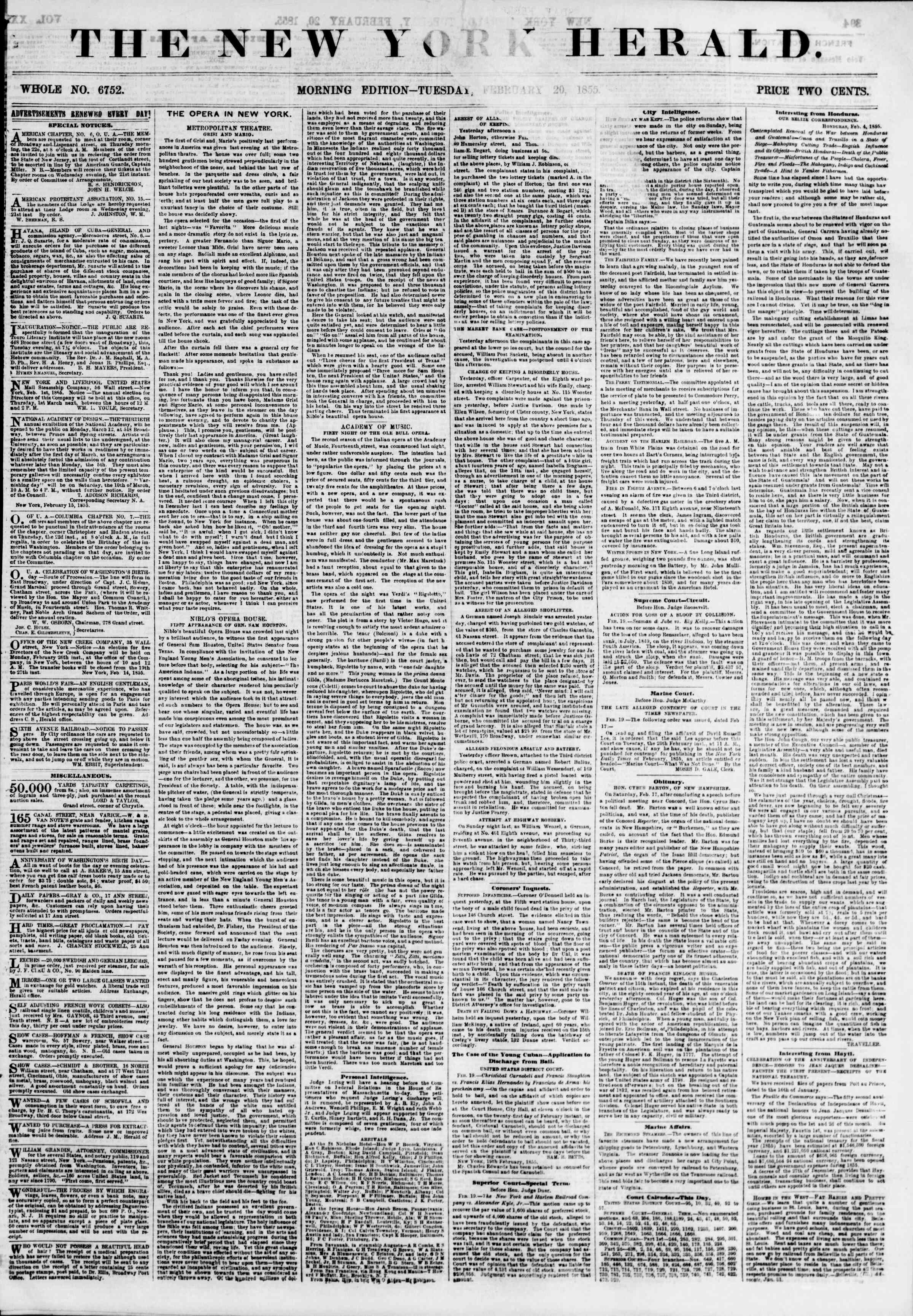Newspaper of The New York Herald dated February 20, 1855 Page 1
