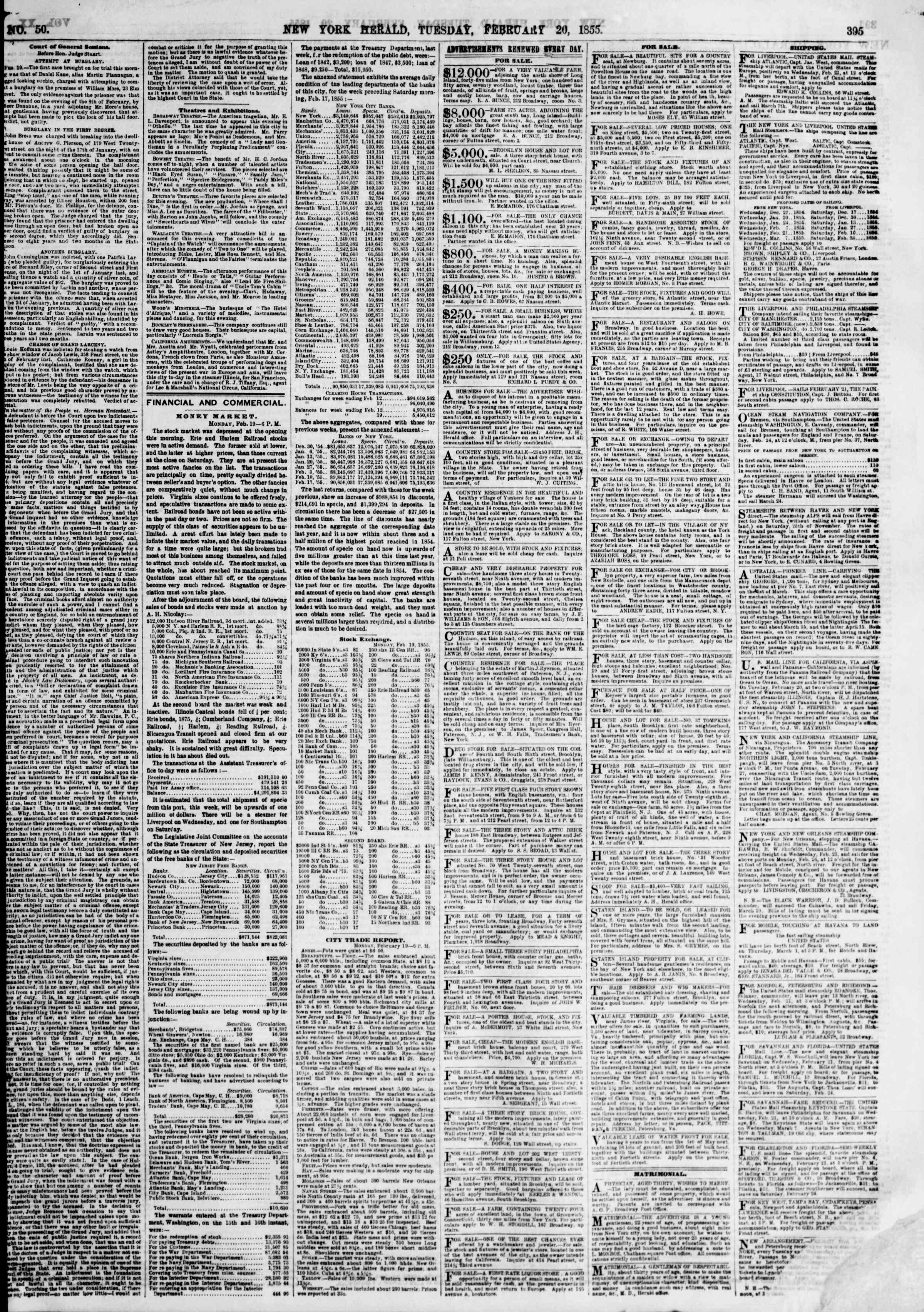 Newspaper of The New York Herald dated February 20, 1855 Page 3
