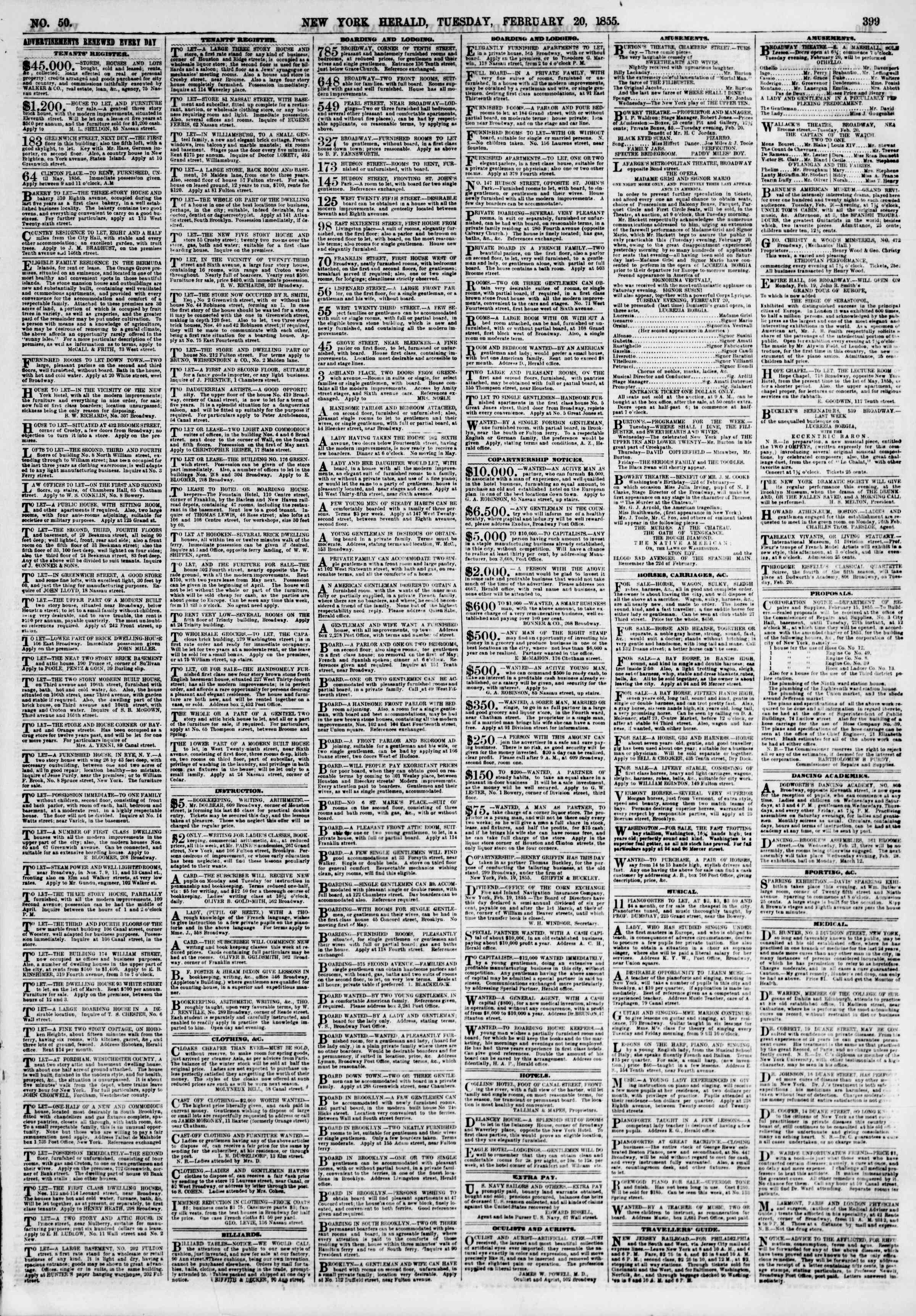 Newspaper of The New York Herald dated February 20, 1855 Page 7