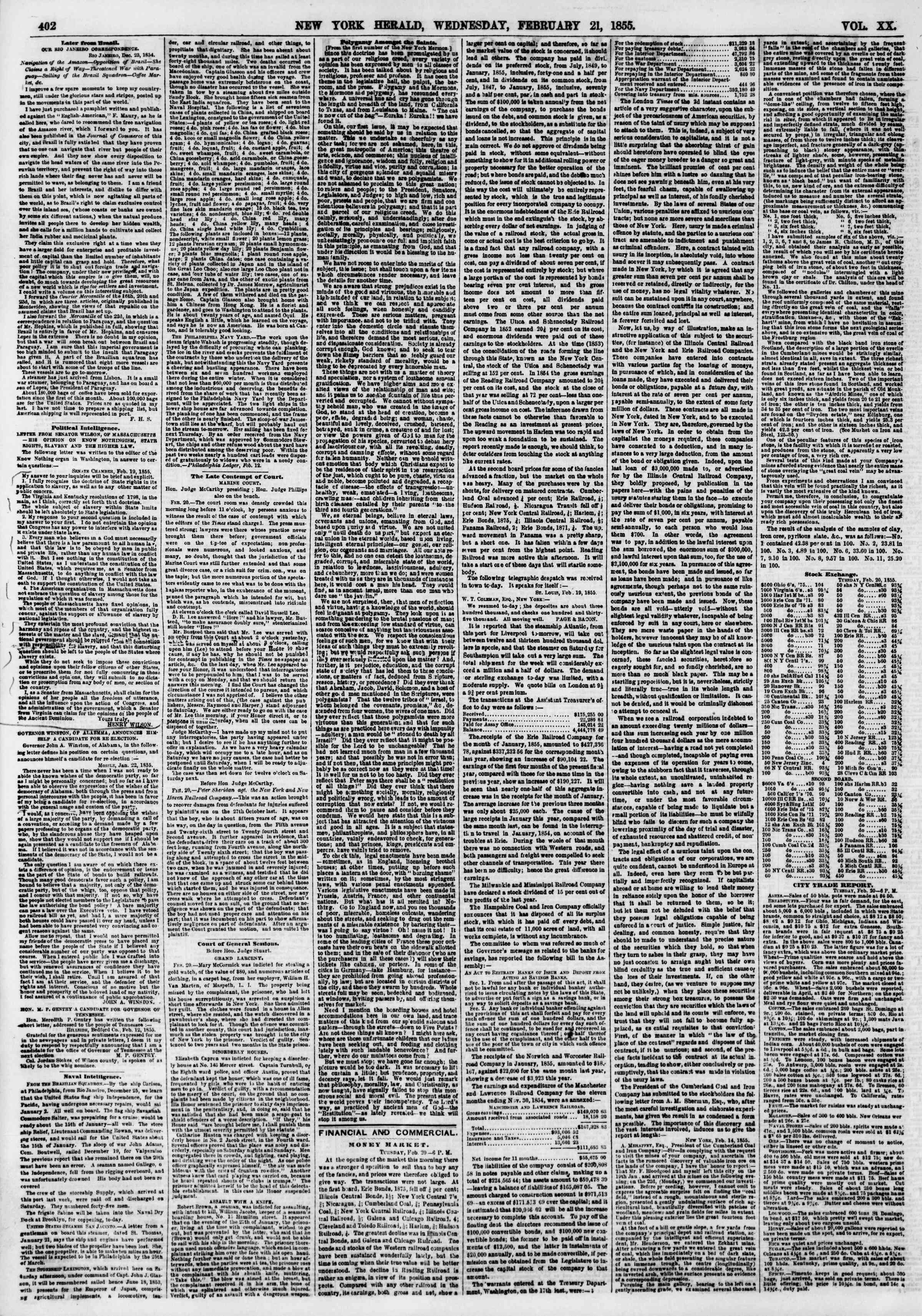 Newspaper of The New York Herald dated February 21, 1855 Page 2