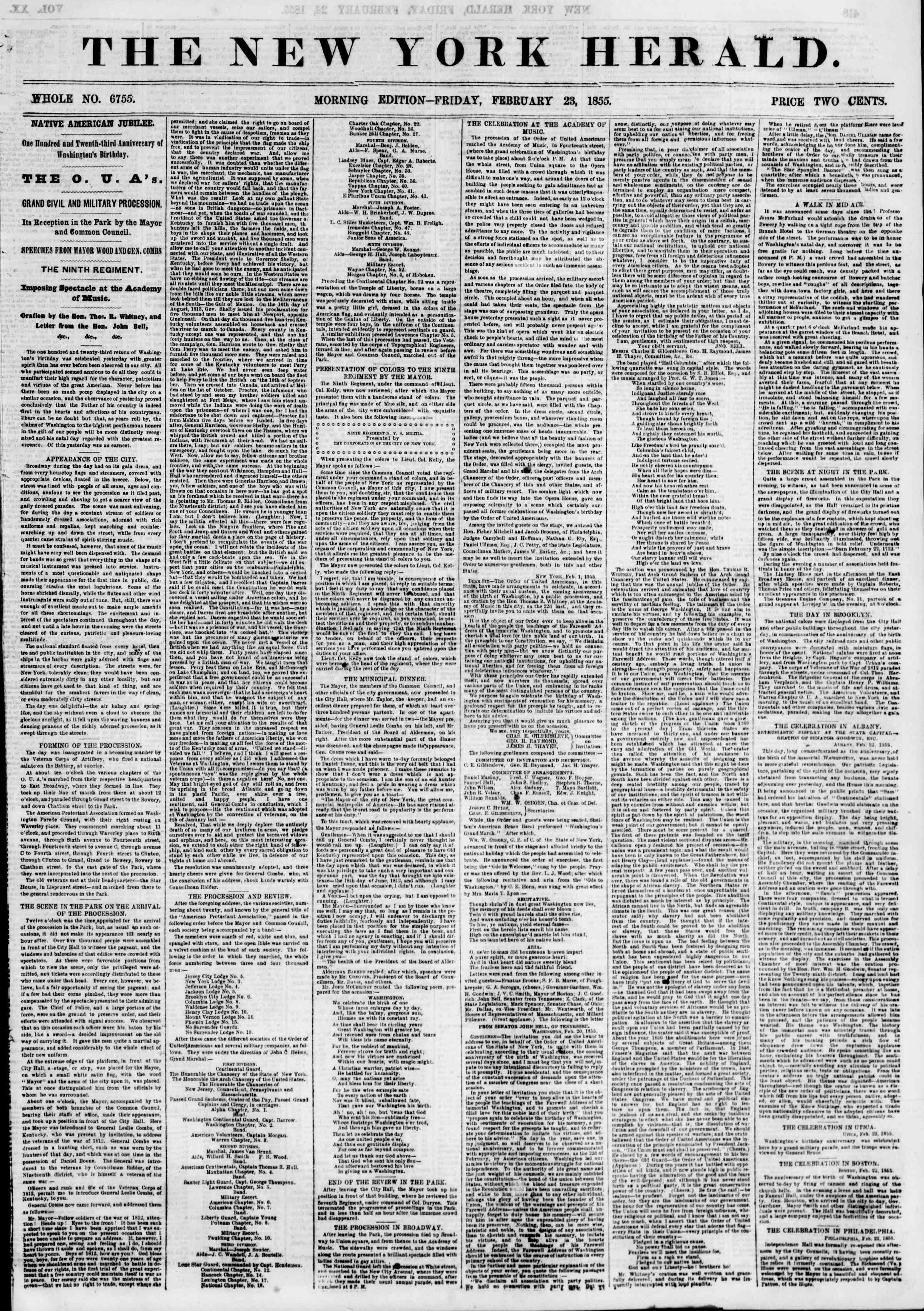 Newspaper of The New York Herald dated February 23, 1855 Page 1