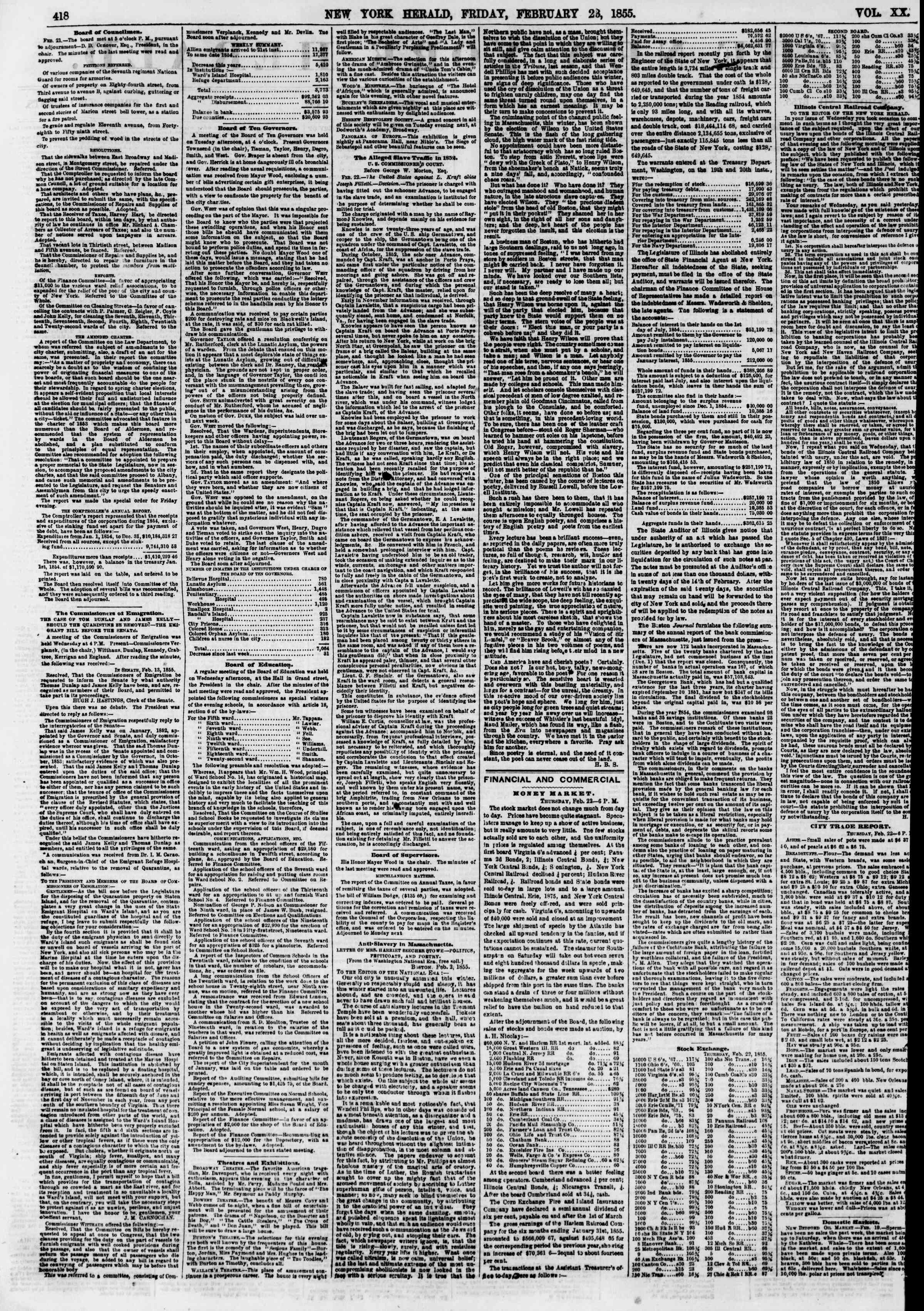 Newspaper of The New York Herald dated February 23, 1855 Page 2