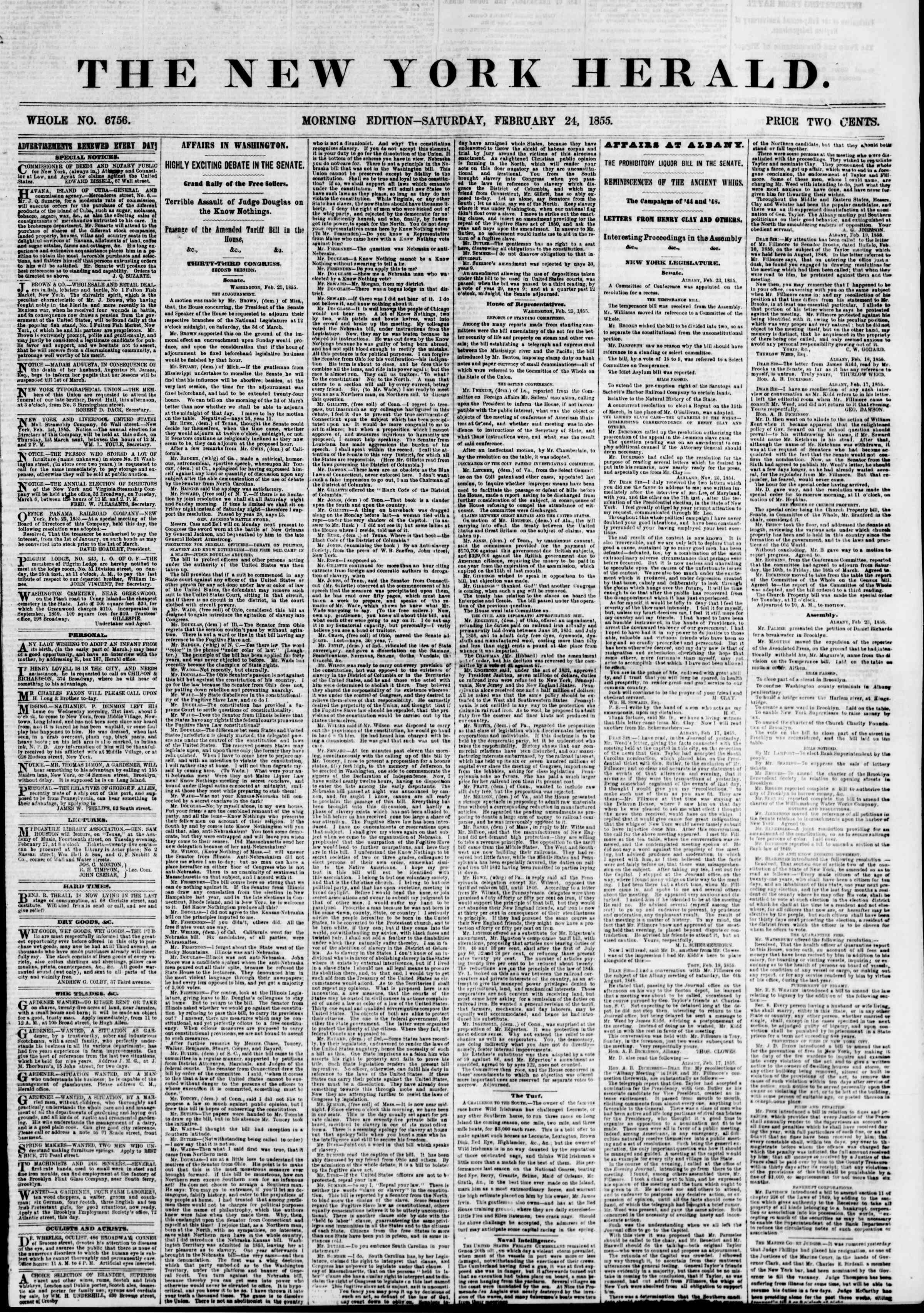 Newspaper of The New York Herald dated February 24, 1855 Page 1